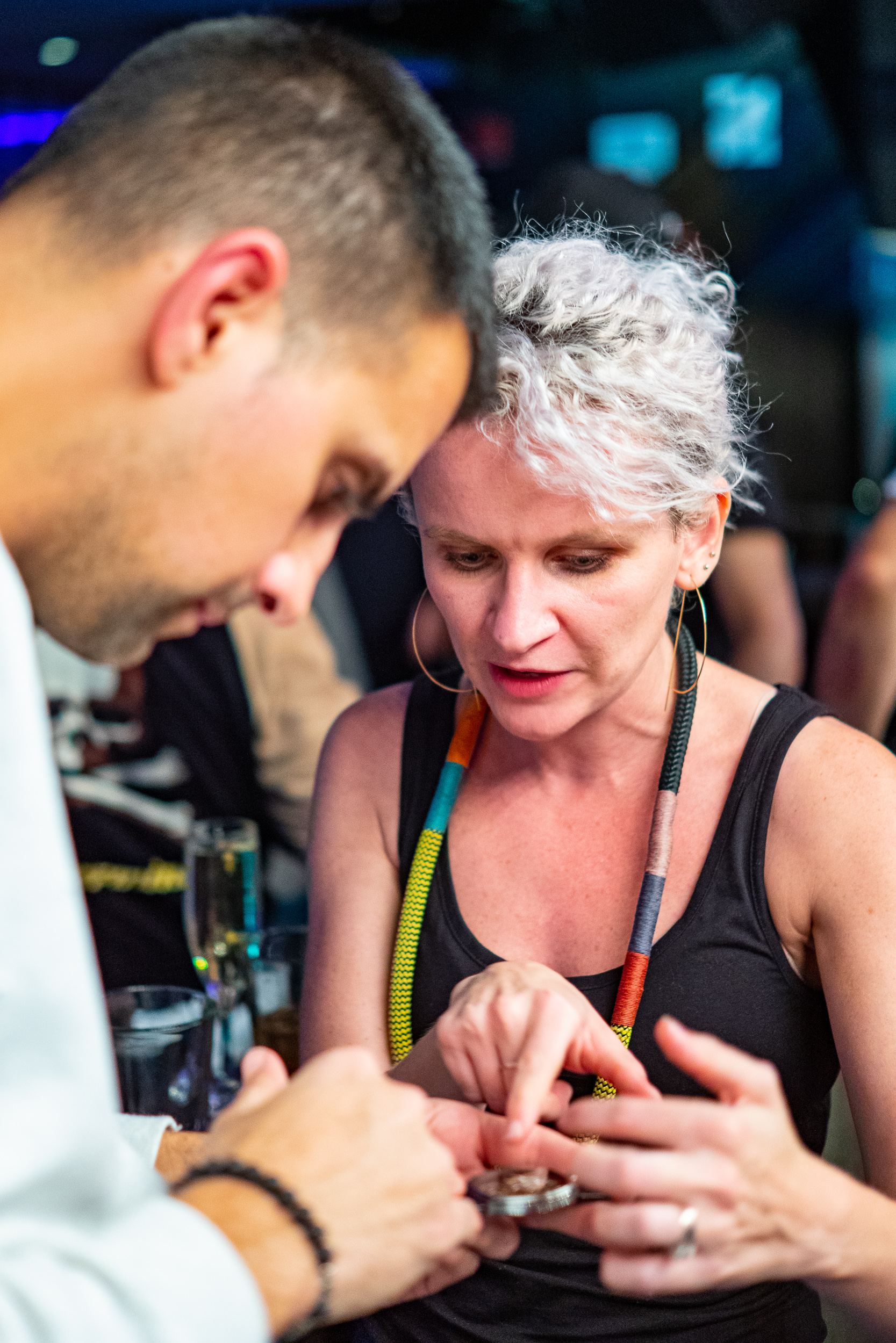 Fiona pointing out details of one of her watches to Christopher Daaboul of Esperluxe