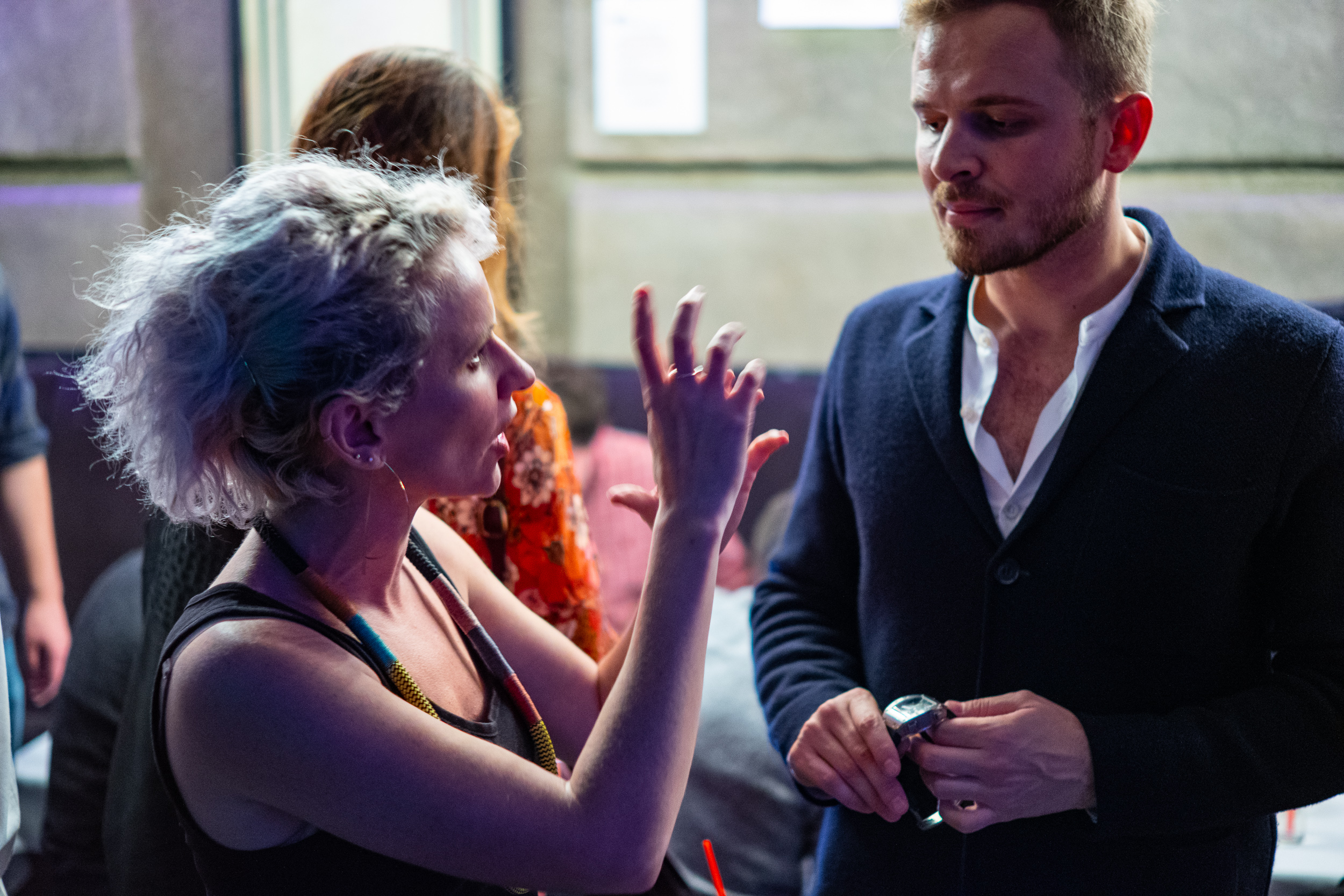 Fiona chatting with Rexhep Rexhepi of Akrivia at RedBar's Independents Night in October 2018