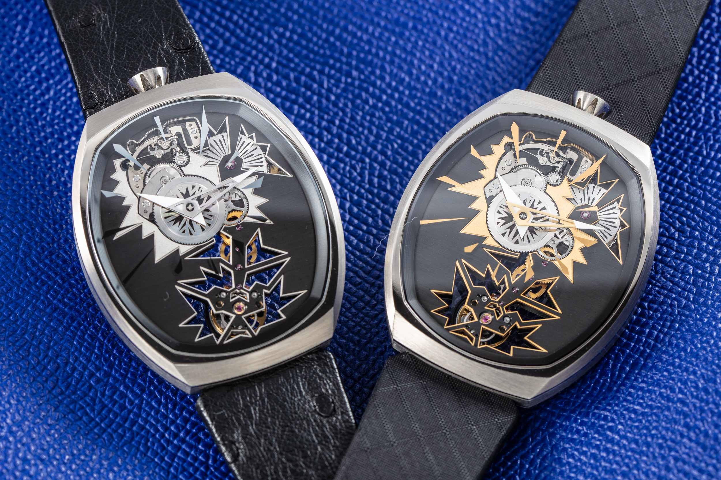 Two versions of the Entropy watch from Fiona Krüger's Chaos Collections