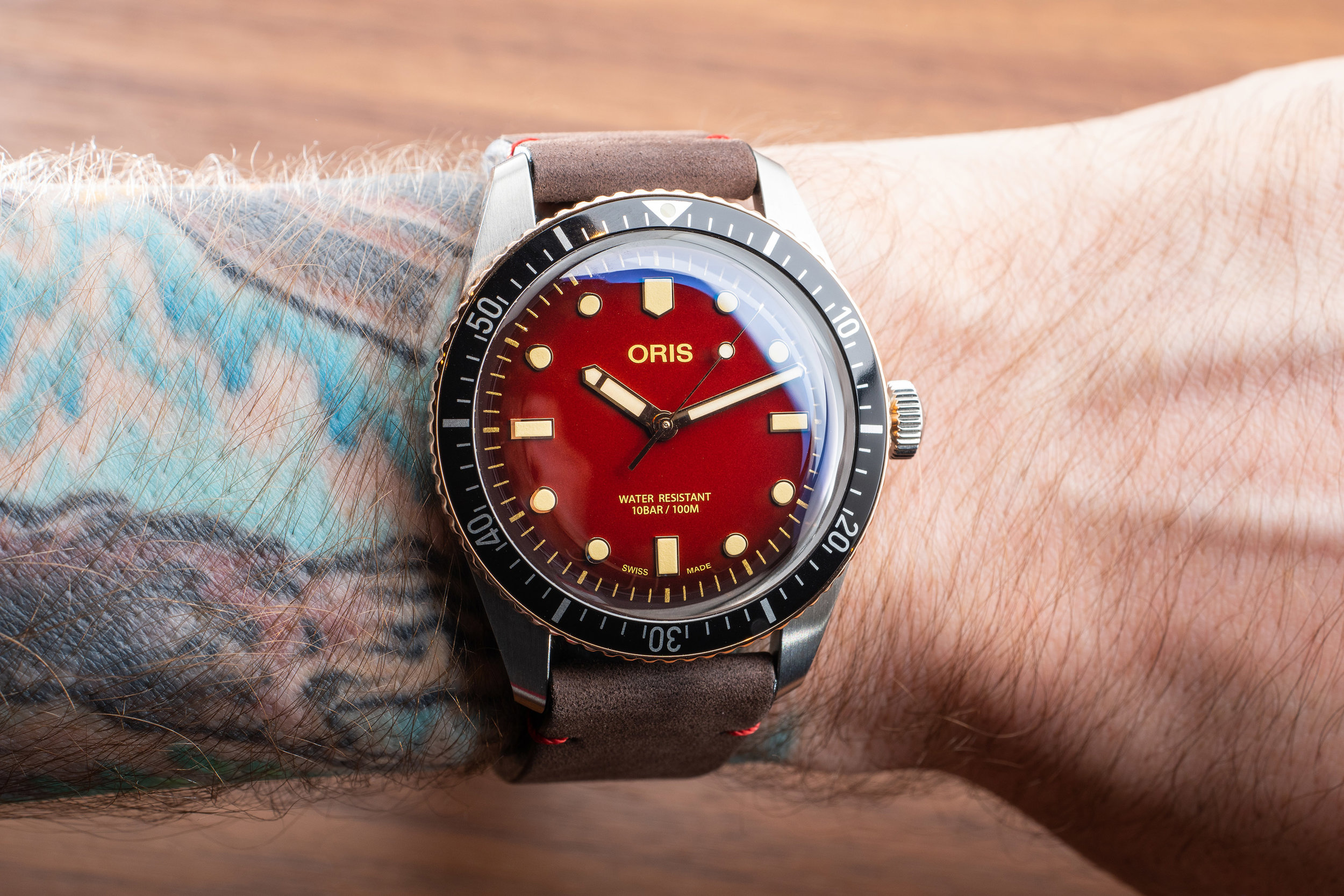 Oris Divers Sixty-Five RedBar LE. Photo by Atom Moore