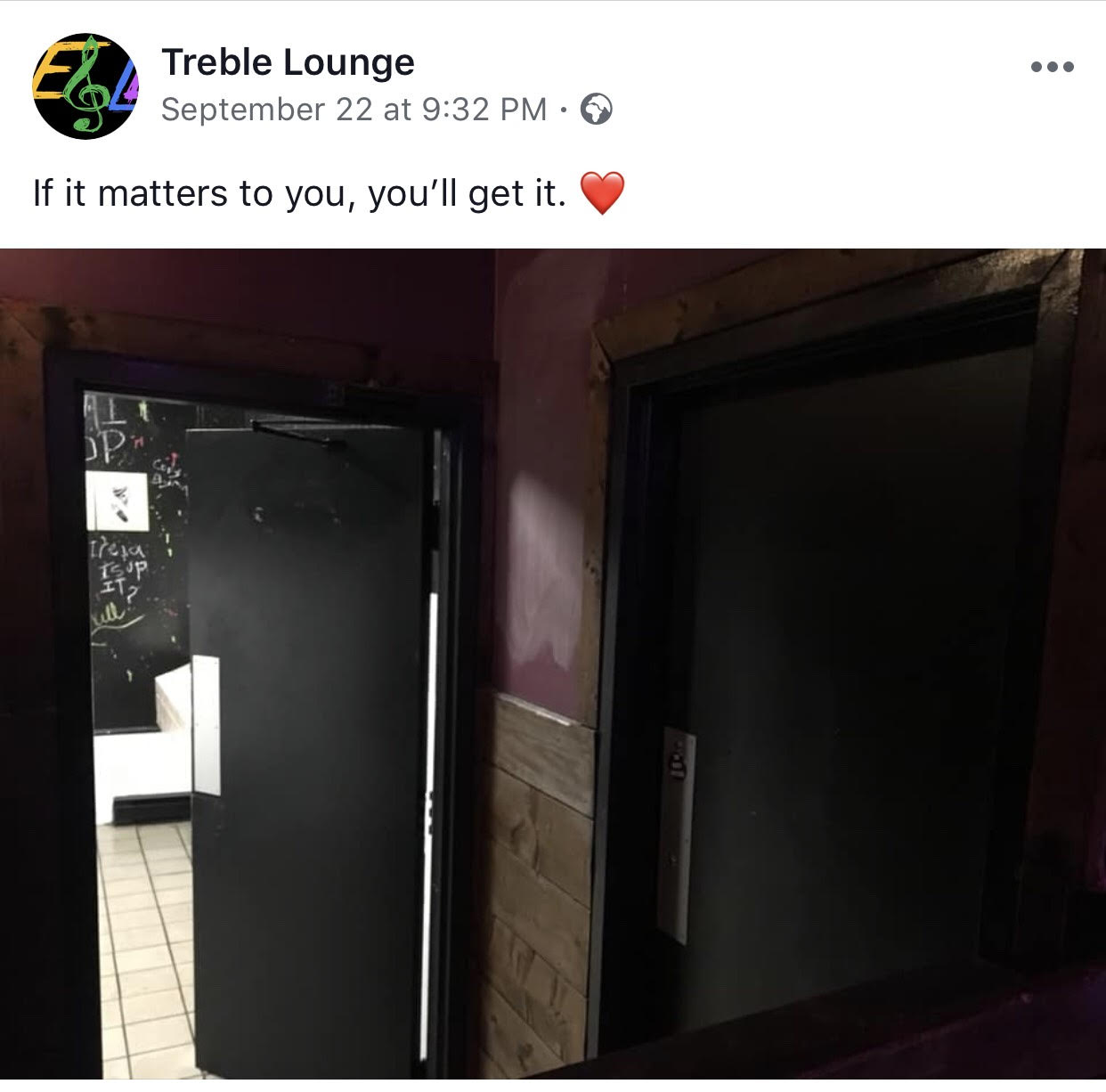 Photo borrowed from Treble Lounge's Facebook page.