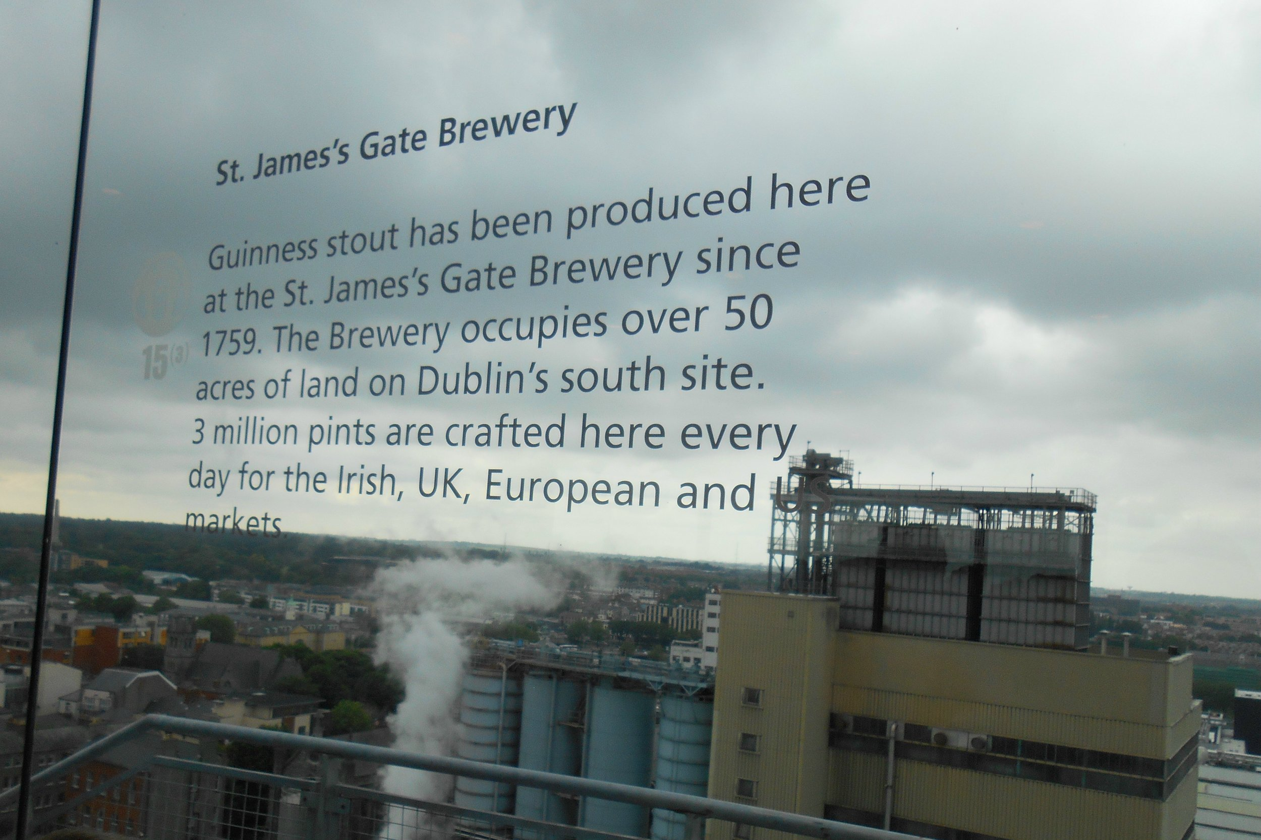 A photo taken from Guinness brewery's Gravity Bar, summer 2014, after WestJet began offering its St. John's to Dublin route.