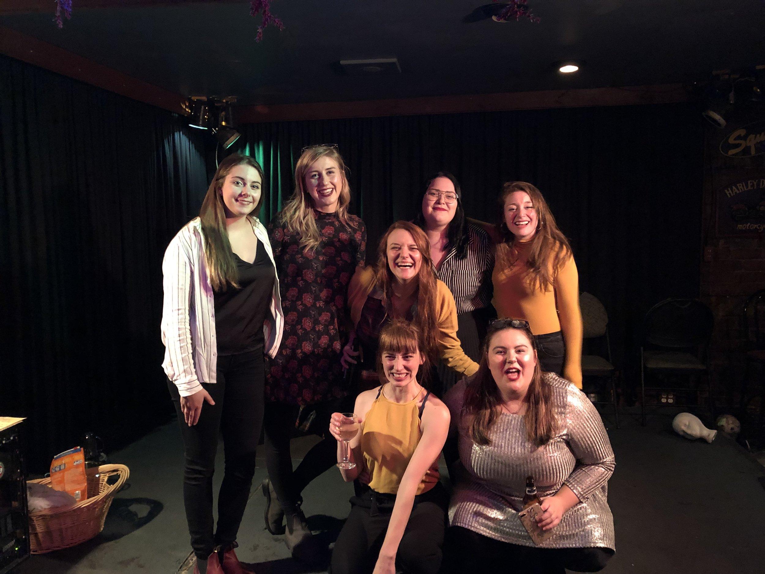 Back Row: Elizabeth Hicks, Katie Thompson, Bree Parsons, Stephanie Curran, and Allison Kelly Front Row: Andie Bulman, and Lauren Lambe.