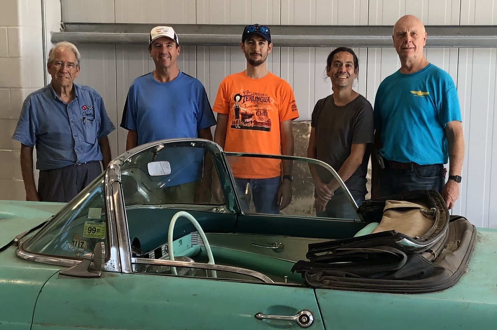 Team delivering '55 Tbird project car to HCC Auto Tech Center