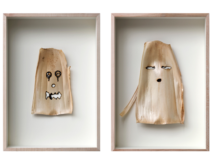 Máscaras . Hoja de bambú 47 x 33.2 cm c/u FECHA