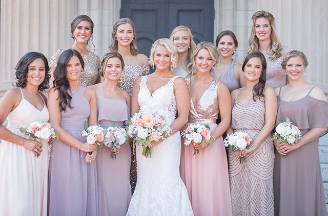 Don't be afraid to let your bridesmaids have different color and styles of dresses! It ends up looking amazing in pictures and makes them feel more comfortable when they get to choose the style! | 📷@ksmithsonphotography | #elevateyourday . . .  #richmondwedding #Richmondweddings #RVAwedding #Richmondweddingplanner #RVAweddingplanner #wedding #southernwedding #Virginiawedding #Virginiaweddingplanner #vawedding #vaweddingplanner