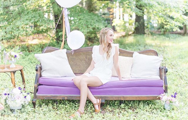 This loveseat from @paisleyandjade just pulls this entire look together! They truly never disappoint when we are looking for the perfect furniture piece! And how beautiful is this model?! | 📷 @remythompsonphotography | #seniorpictures #seniorshoot . . . @hisorherssalon @blackcreekflowers  @sweeteststitch #richmondwedding #Richmondweddings #RVAwedding #Richmondweddingplanner #RVAweddingplanner #wedding #southernwedding #Virginiawedding #Virginiaweddingplanner #vawedding #vaweddingplanner