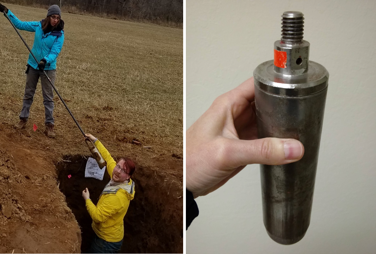 Luminescence sampling by hand auger (LEFT). A beveled, light-tight core sampler (RIGHT). Photo credits: Amanda Keen-Zebert (left), christina neudorf (right)