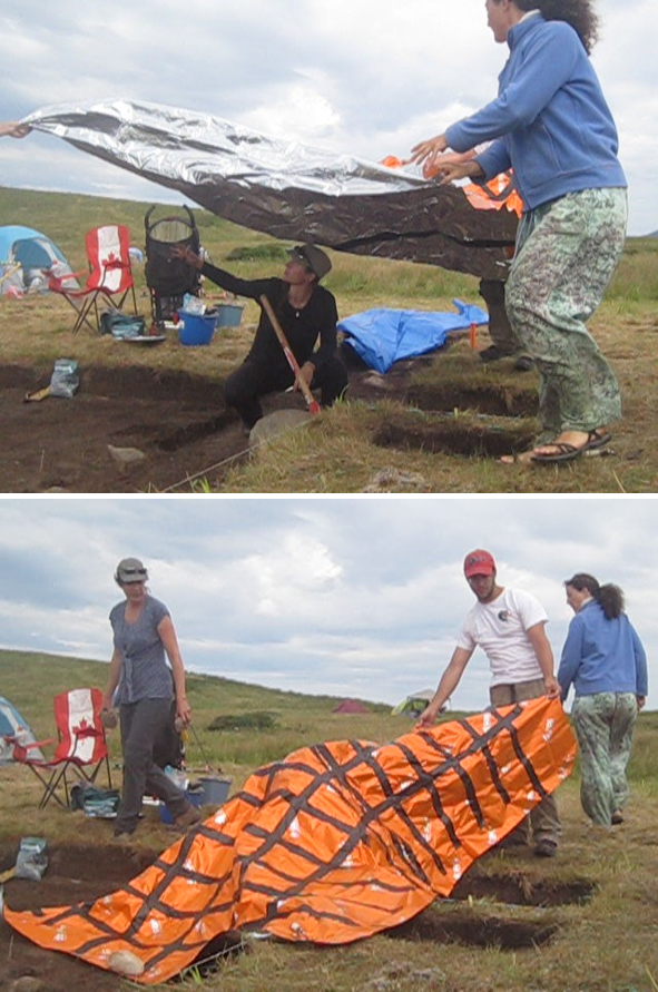 Luminescence sampling under a tarp IN NEWFOUNDLAND, CANADA. Tape was applied to creases susceptible to light penetration, and multiple layers of material was used. If you choose to sample this way, do it quickly and with lots of helping hands - You do not want to suffocate! PHOTO CREDIT: GREGORY MUMFORD