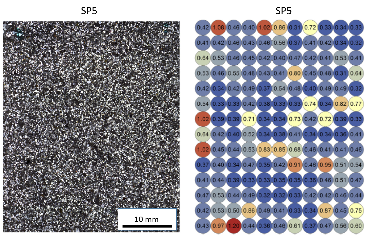 A) Stitched microphotograph of a thin section of beach sand from MacCauley's Beach, NSW, Australia (sample SP5) shown in cross-polarized light. B) A beta dose rate (in Gy/ka) map created from portable XRF measurements of a separate impregnated block of the same sample. The spatial variations in beta dose rate in this sample can explain the spread in De values (overdispersion = 35%) measured from 170 individual grains ( Jankowski & Jacobs, 2018 ).