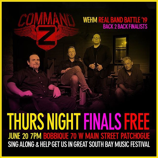 We're IN, Now Lets WIN! This THURS night 7pm Live Real Band Battle In Patchogue @bobbiqueny Pack the house, sing along and help us get in to the @greatsouthbaymusicfestival @wehmradio @anthonysfavs #RBB19