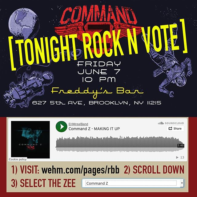 Rock&Vote TONIGHT  #SeeTheZ  @freddysbrklyn  10p 627 5th Ave, Bkln  VOTE for Z www.wehm.com/pages/rbb