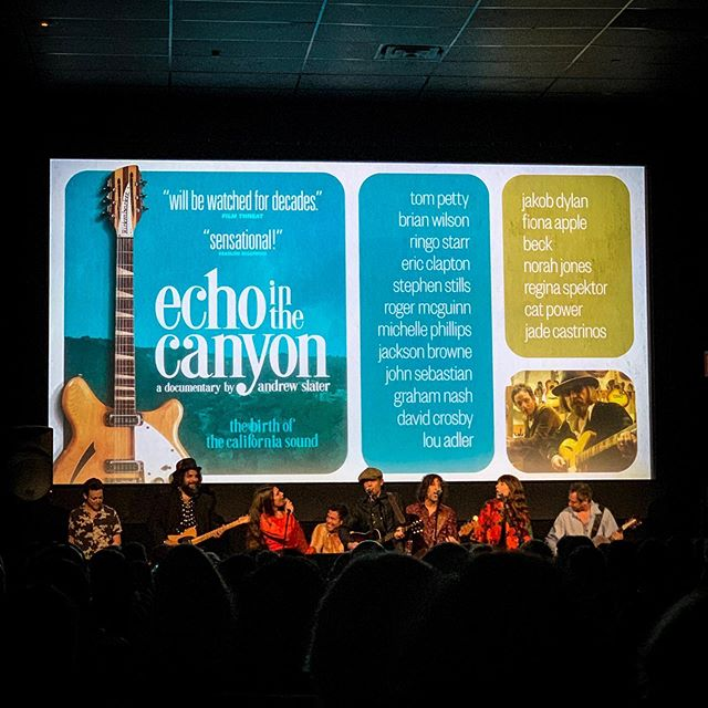 Special showing of @echointhecanyon last night followed by not just conversation with the filmmakers and #jakobdylan but a live performance FEATURING @commandznyc collaborator @fperdomo on guitar. So proud of Fernando who is featured throughout the doc playing with the California music legends the film celebrates. So see this amazing film about the LA music scene in the mid sixties.