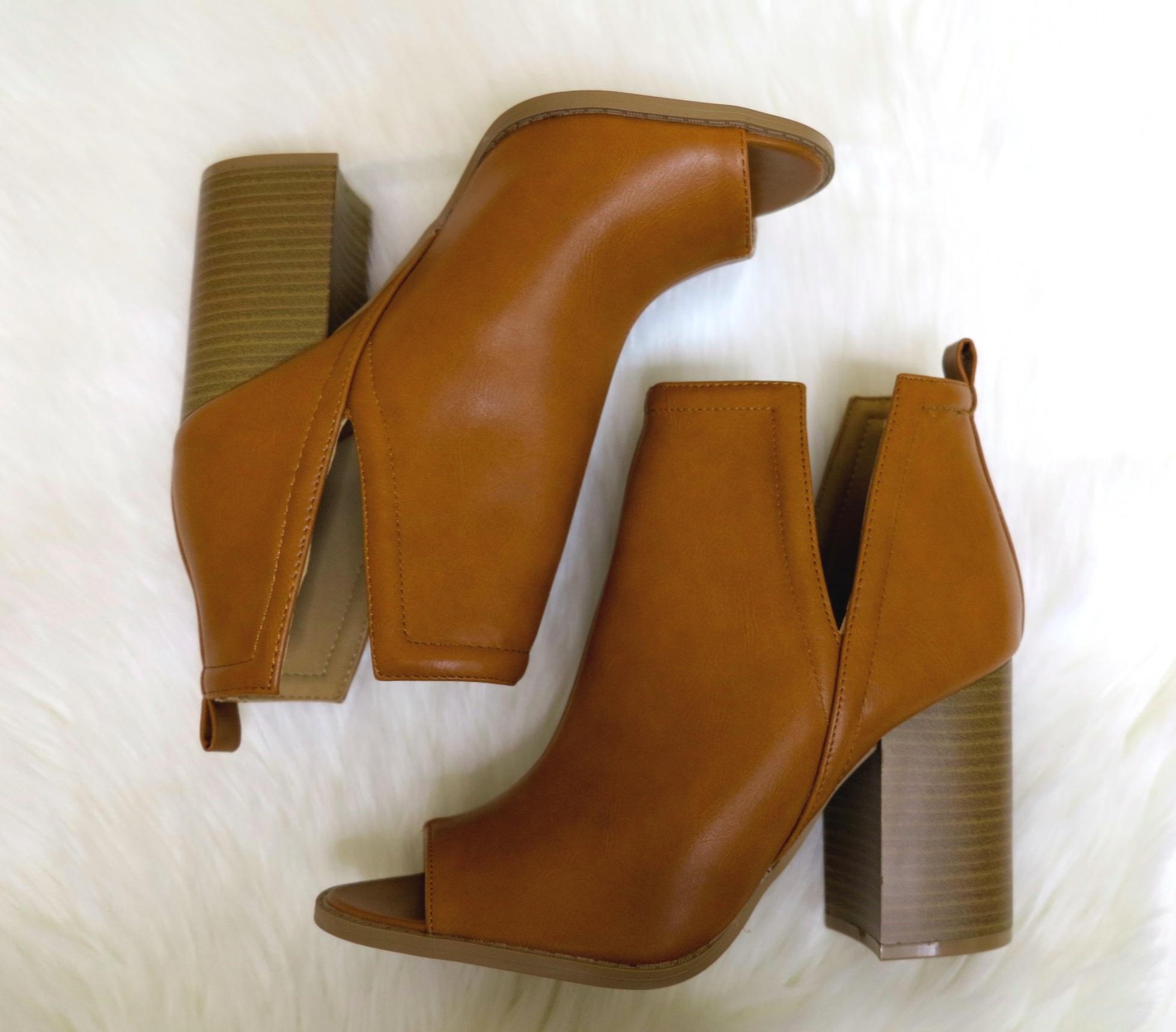 Camel Peep-Toe Booties — Shoes