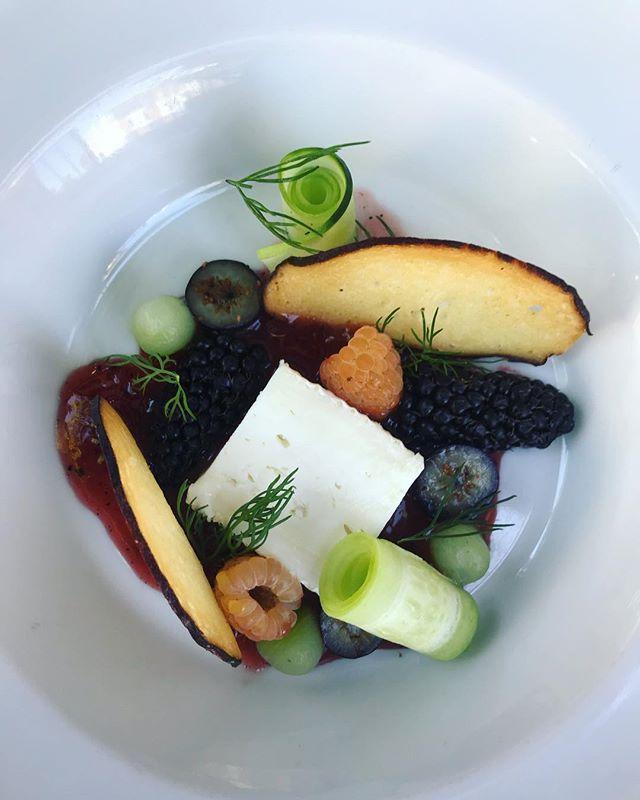 Brie de chèvre, savory raspberry confiture, summer berries, cucumber, dill, buttery pretzel chip #beastpdx