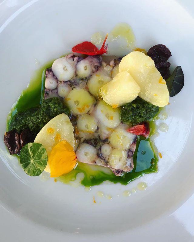 Octopus terrine, smoked new potato, castelvetrano olive pistou #beastpdx