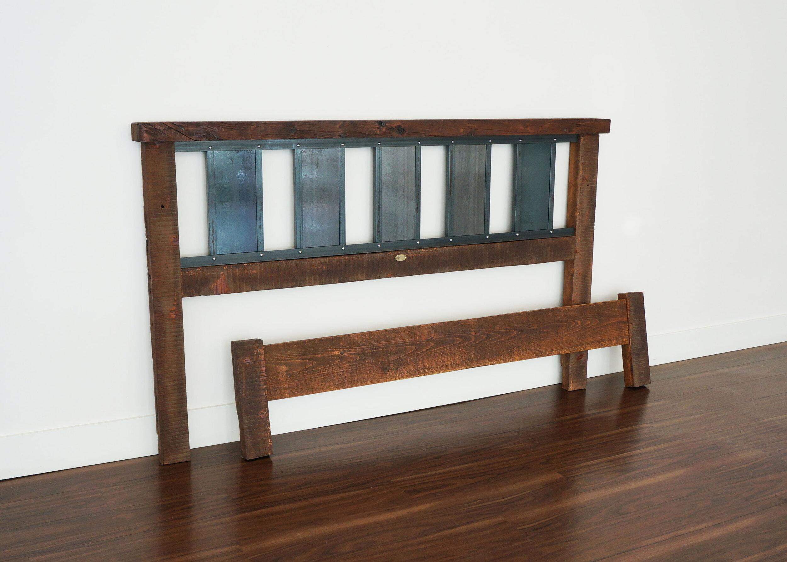 Industrial metal and wood bedframe.jpg