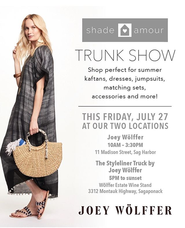 Come join us tomorrow for a trunk show @shopjoeywolffer and @wolfferwine stand. #shop #sip #repeat #trunkshow #shareyourshade