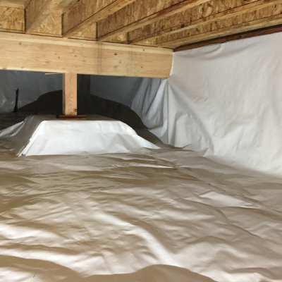 completed crawl space moisture barrier
