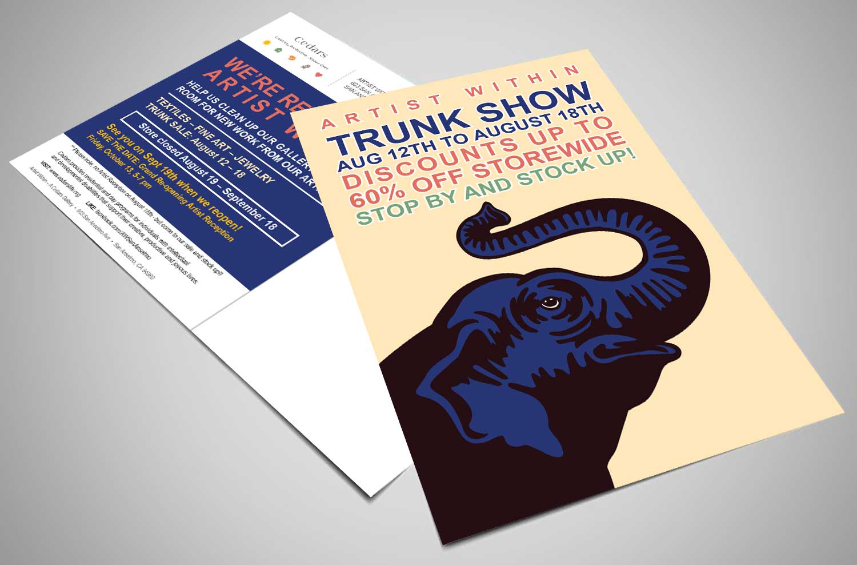 Cedars Trunk Show Postcard