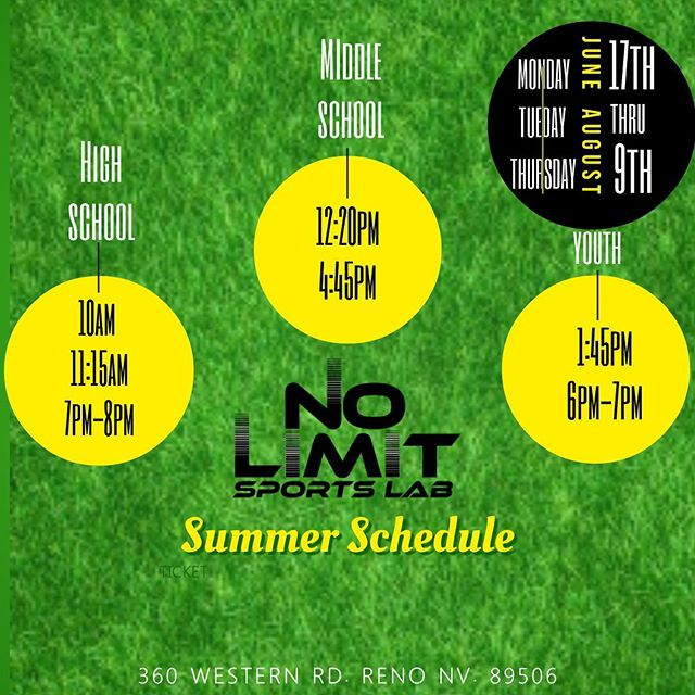 Summer Schedule! Starts next week! Monday! June 17th! Monday, Tuesday and Thursday! DM for details  #nolimitsjustpossibilities #nolimitsportlab #renofitness #youthfitness #youthathleticdevelopment #renonevada