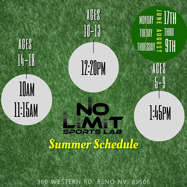 We made a few adjustments to the summer schedule.  DM for details  #nolimitsjustpossibilities #nolimitsportlab #renofitness #youthfitness #youthathleticdevelopment #renonevada
