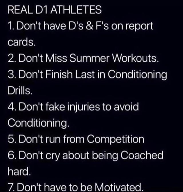 "We get asked all the time, ""What does it take to be a Division 1 athlete?"" It's plain and simple, there is fine line that separates those that want it and those who don't!"