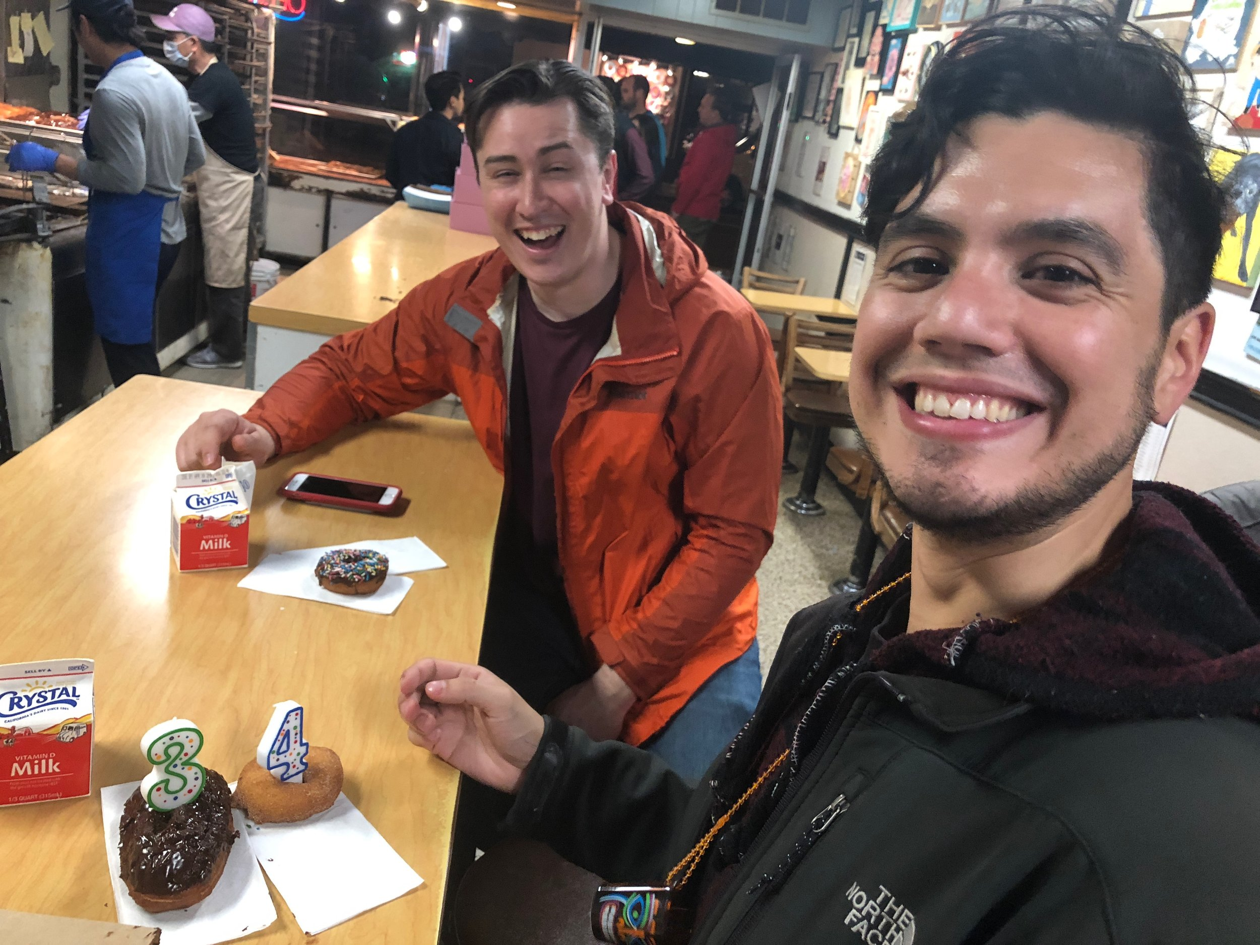 j and bryan with donuts.JPG
