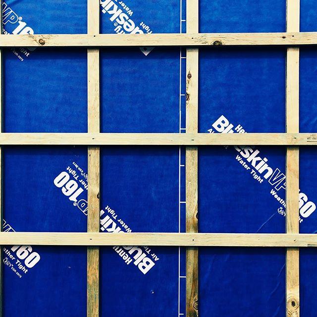 Keep it tight.  #portland #modern #wrb #henryblueskin #airbarrier #waterbarrier #adu #design #build #tinyhouse #livelarge #woodframing #rainscreen #constructionscience #contemporaryhomes #designweekportland #designweekpdx #dwp2019