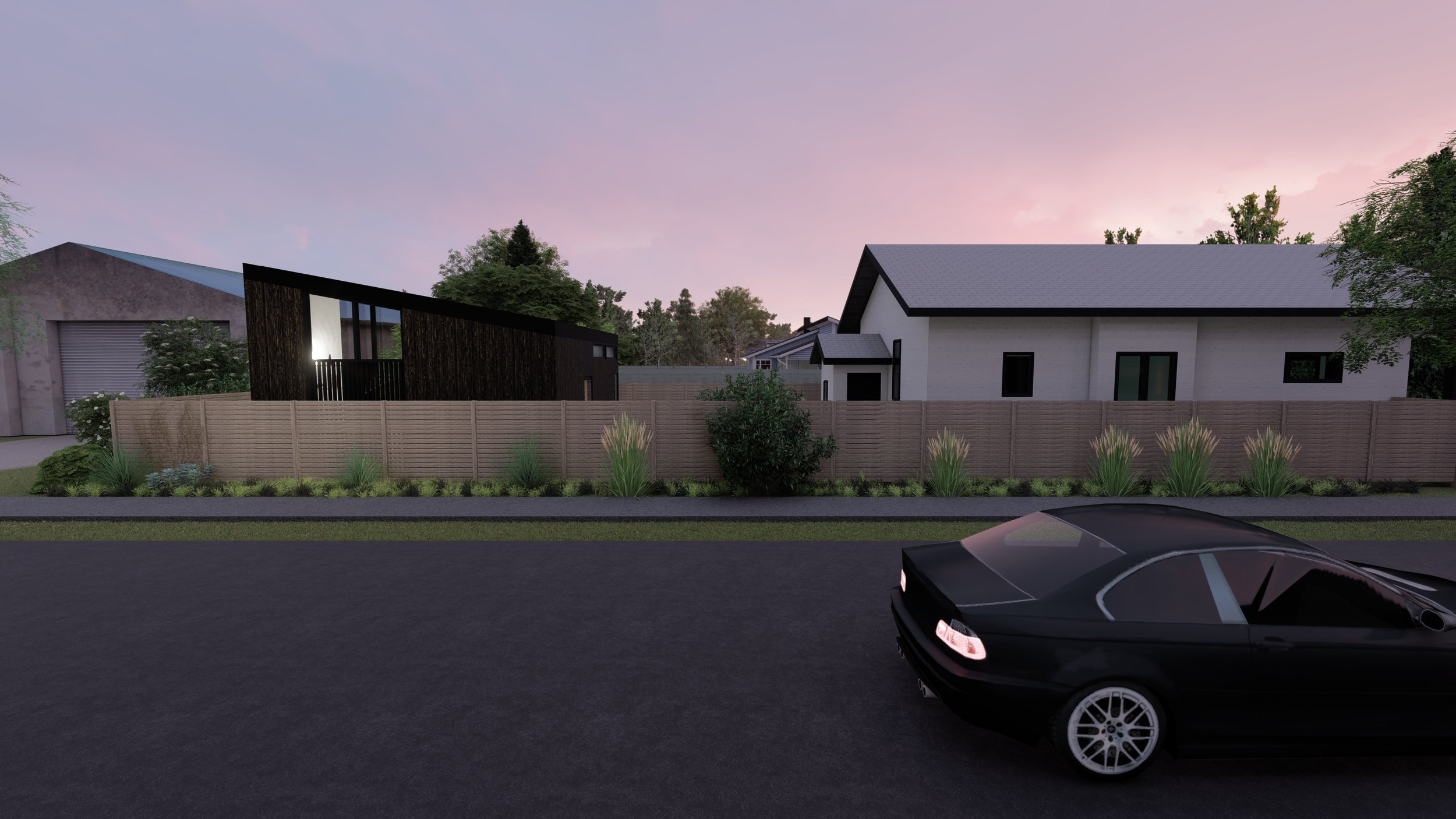 A rendering of what would become our shed roof ADU.