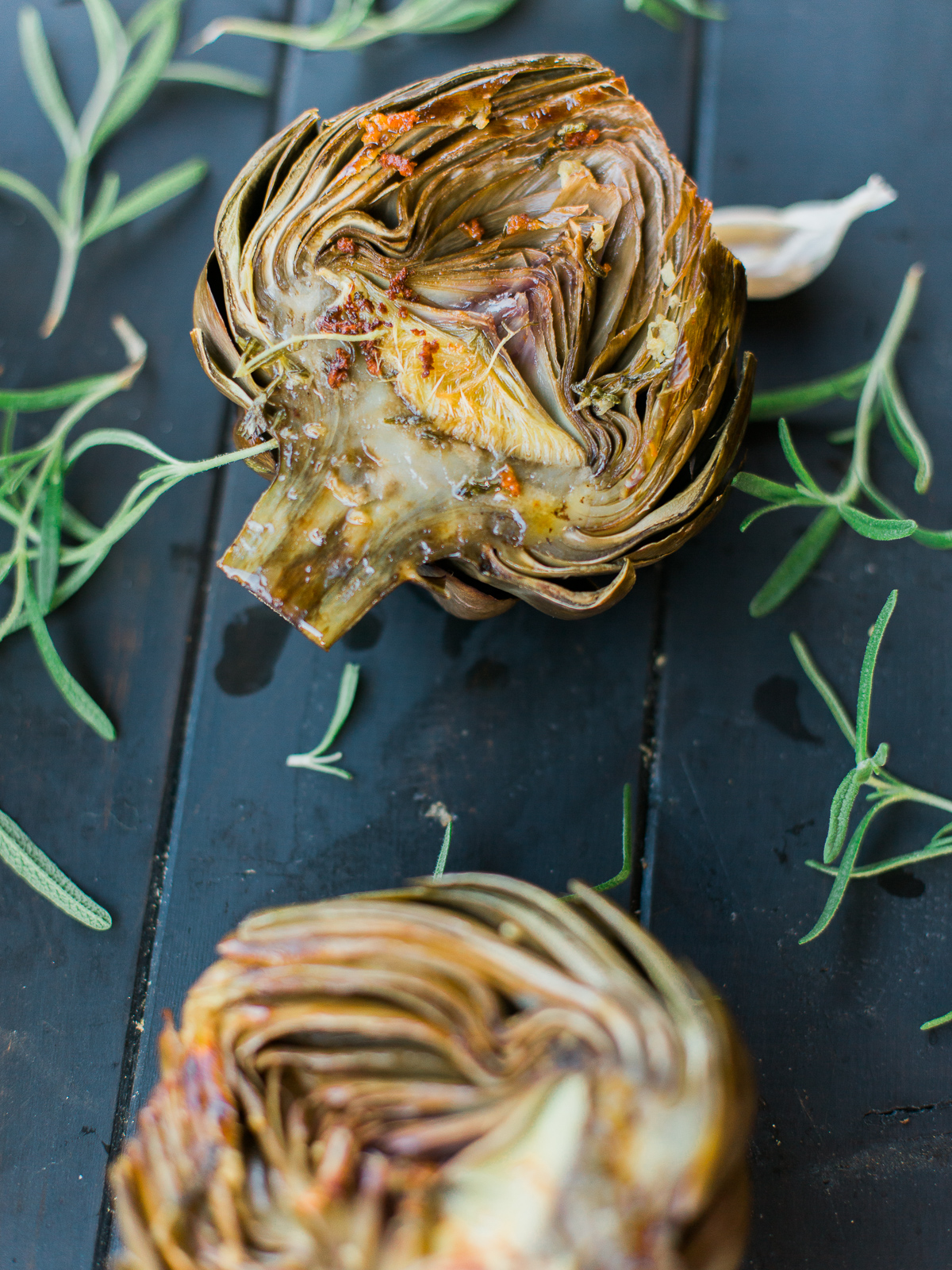 Rosemary Garlic Butter Roasted Artichoke Recipe  photo & recipe courtesy of Dad with a Pan