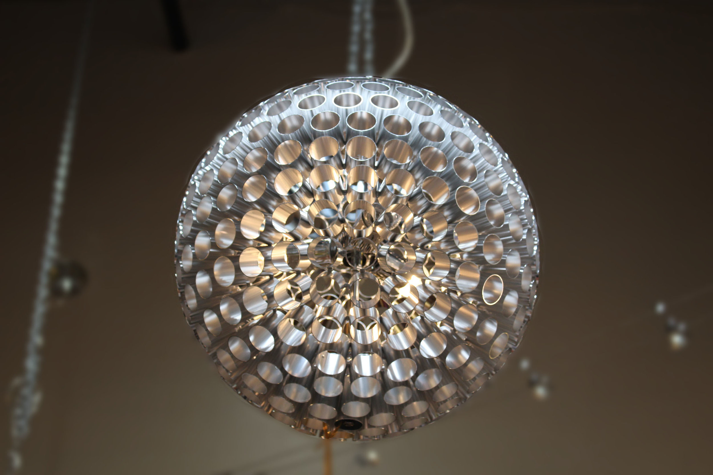 Pair of Silver Circle Pendant Chandeliers
