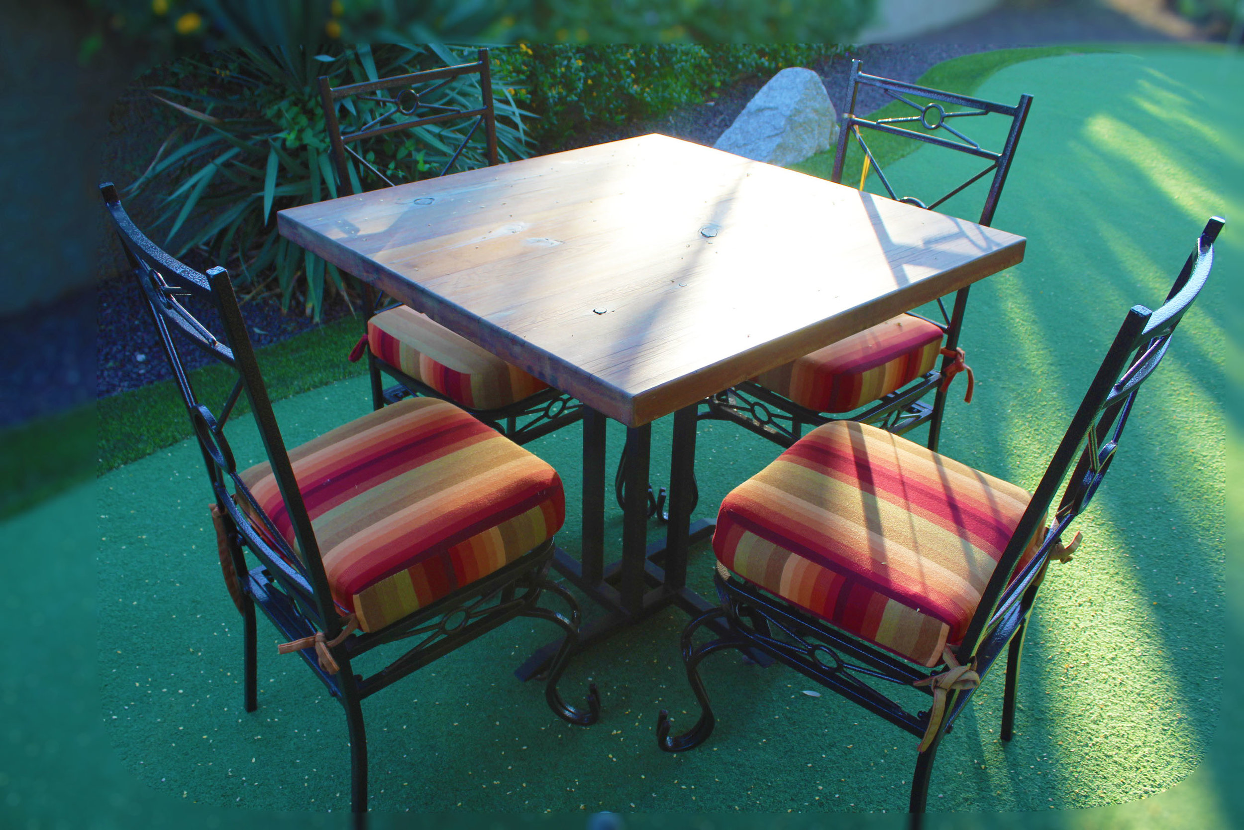 Outdoor Square Wood Table with 4 Side Chairs