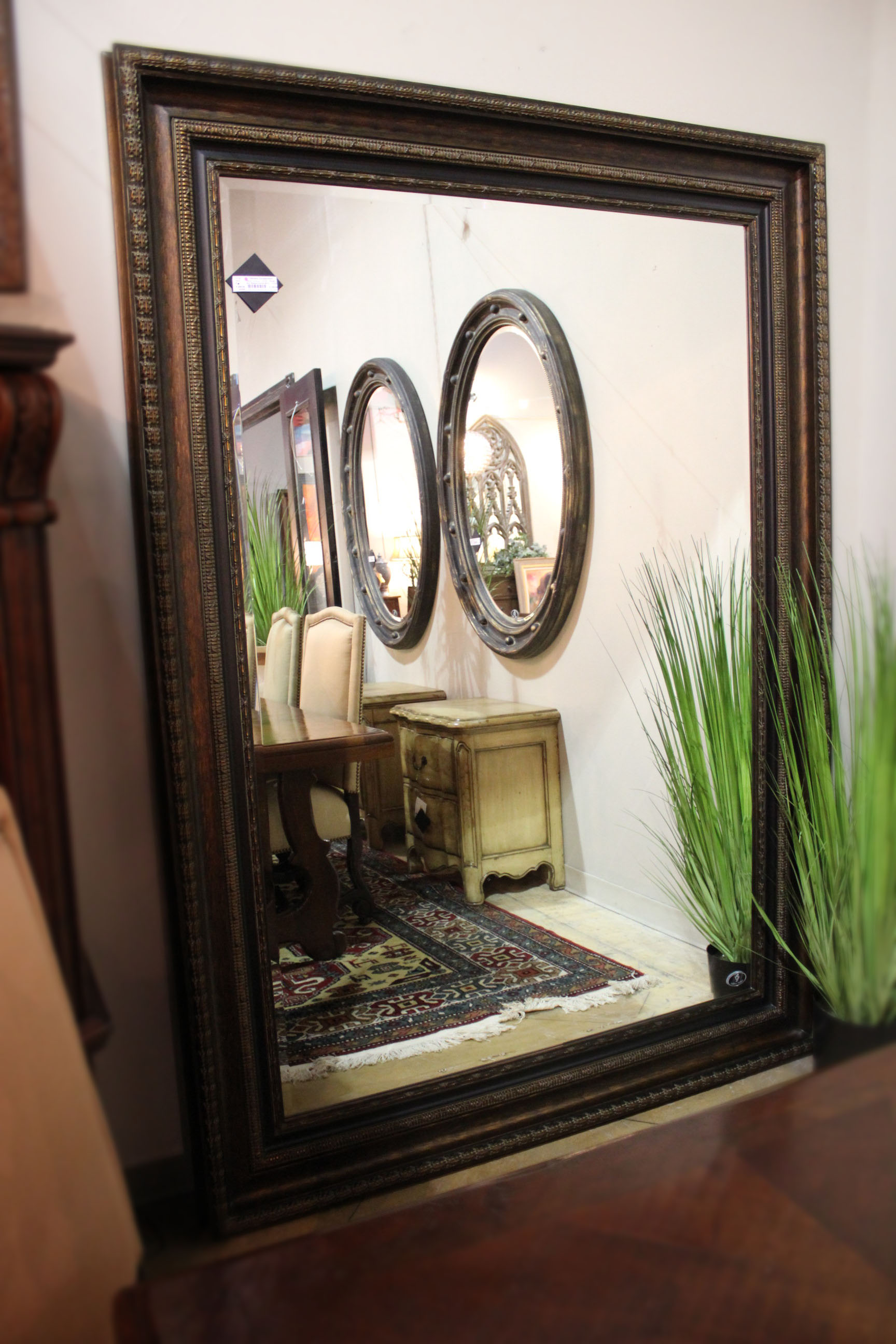 Bronze Ribbed Carved Mirror
