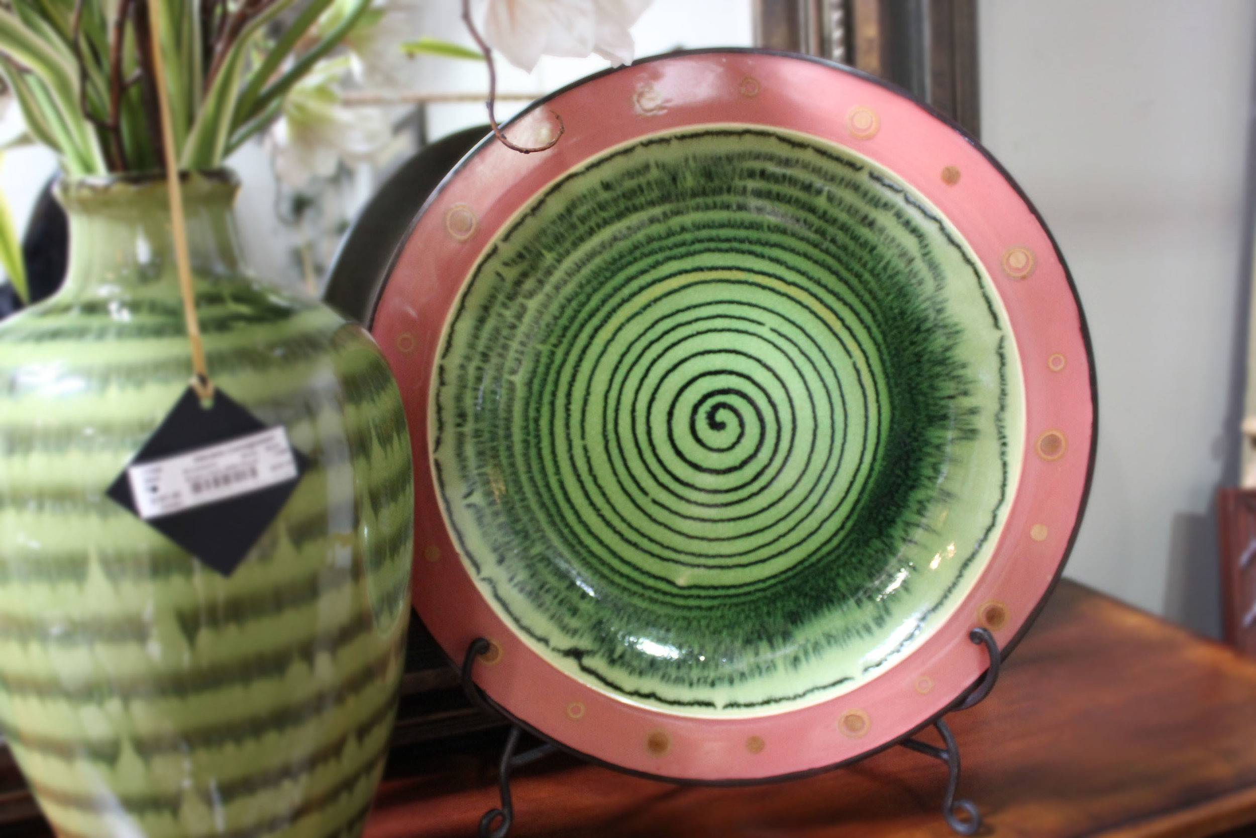 Pink Green Plate on Stand