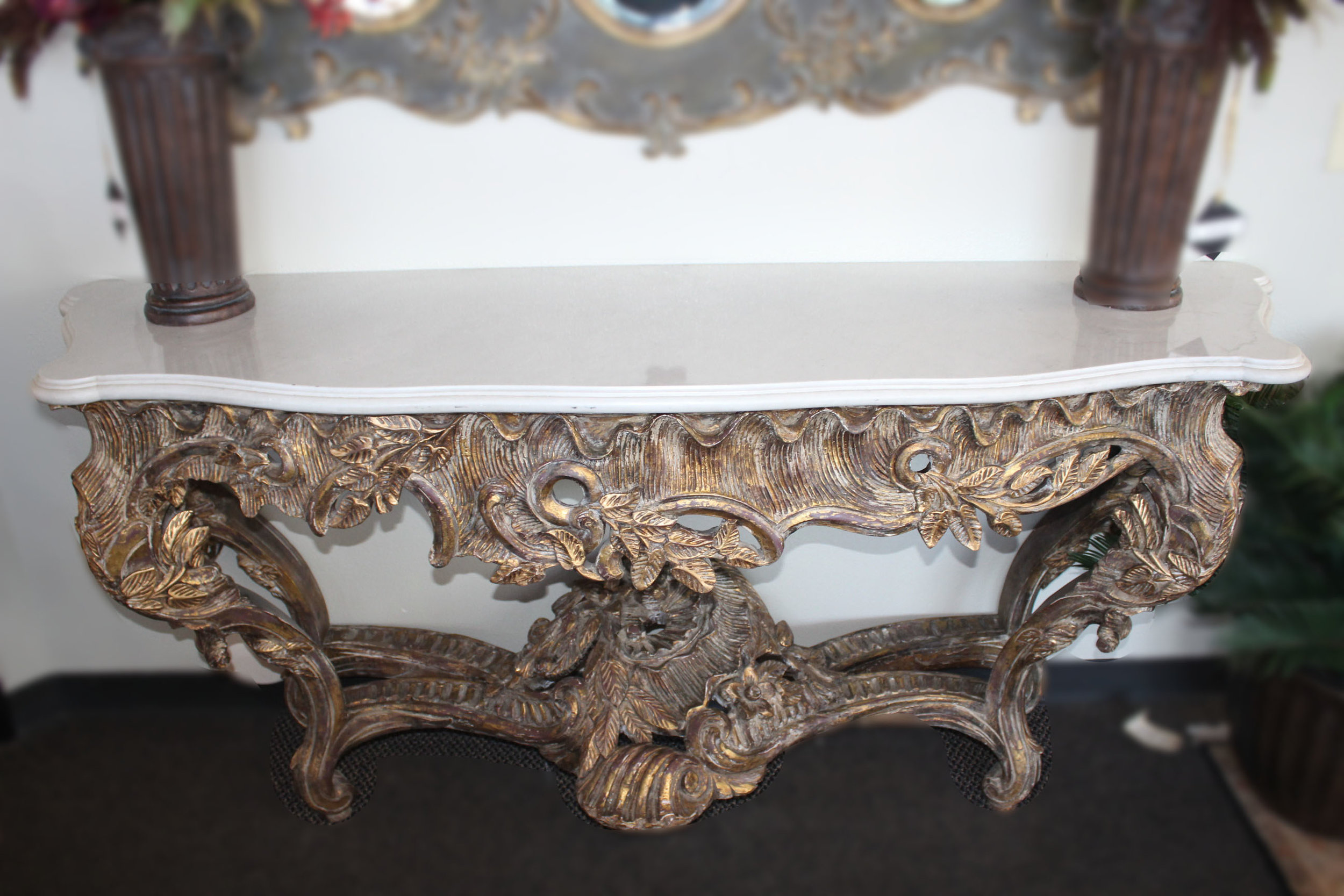 Gold Carved Console with White Marble