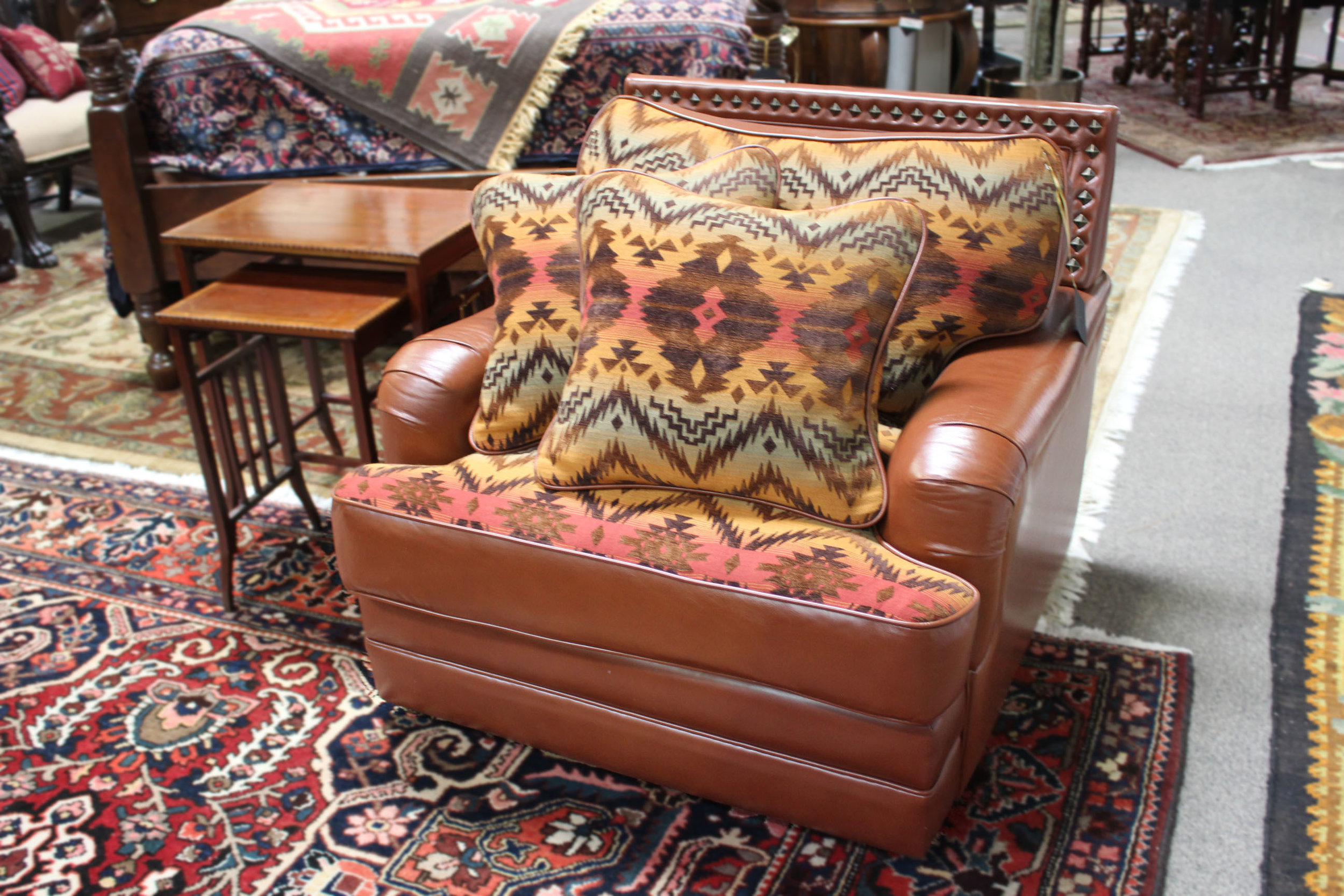 AZ Leather Rust Leather Chair with Western Fabric