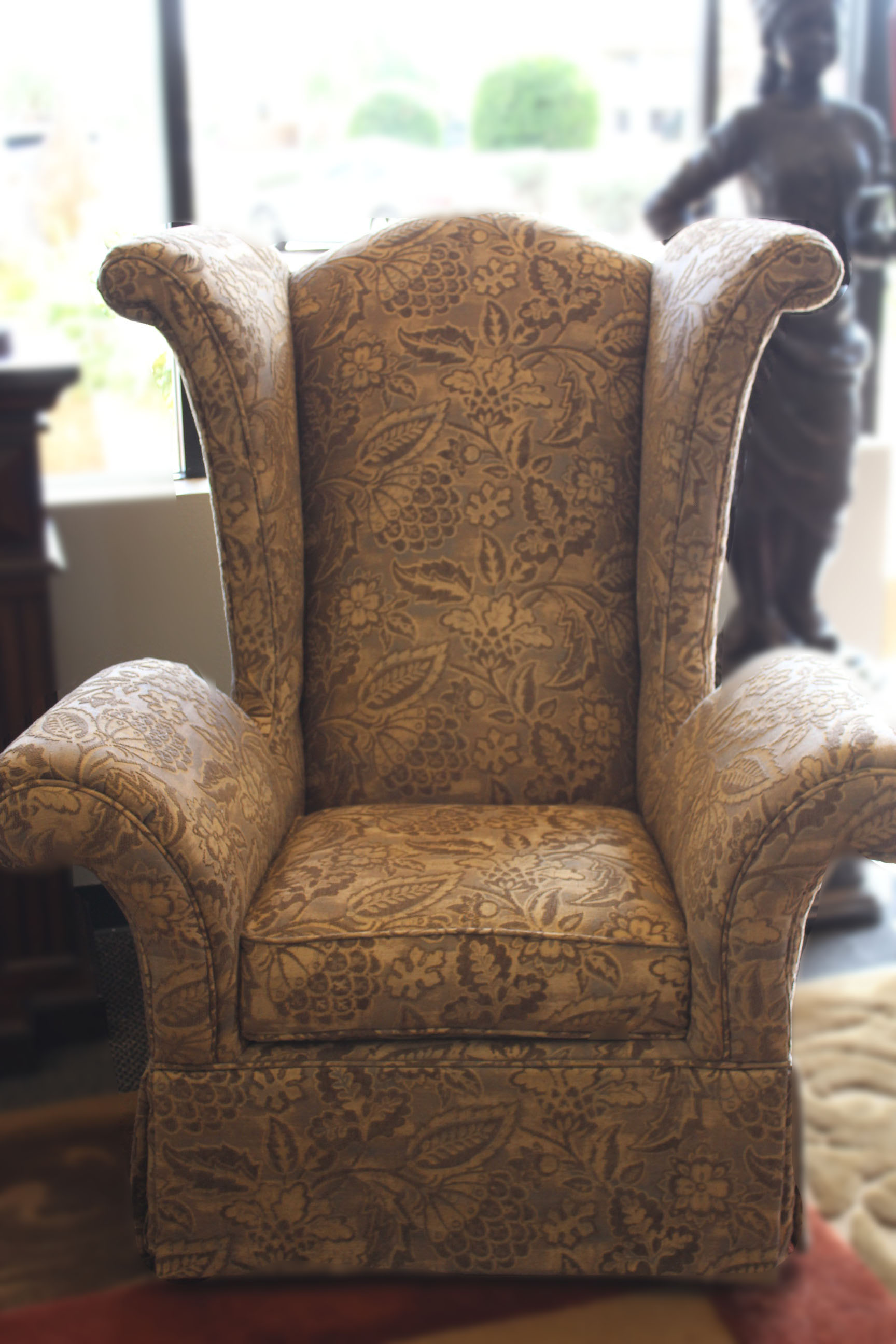 Gold Paisley Wingback Chair