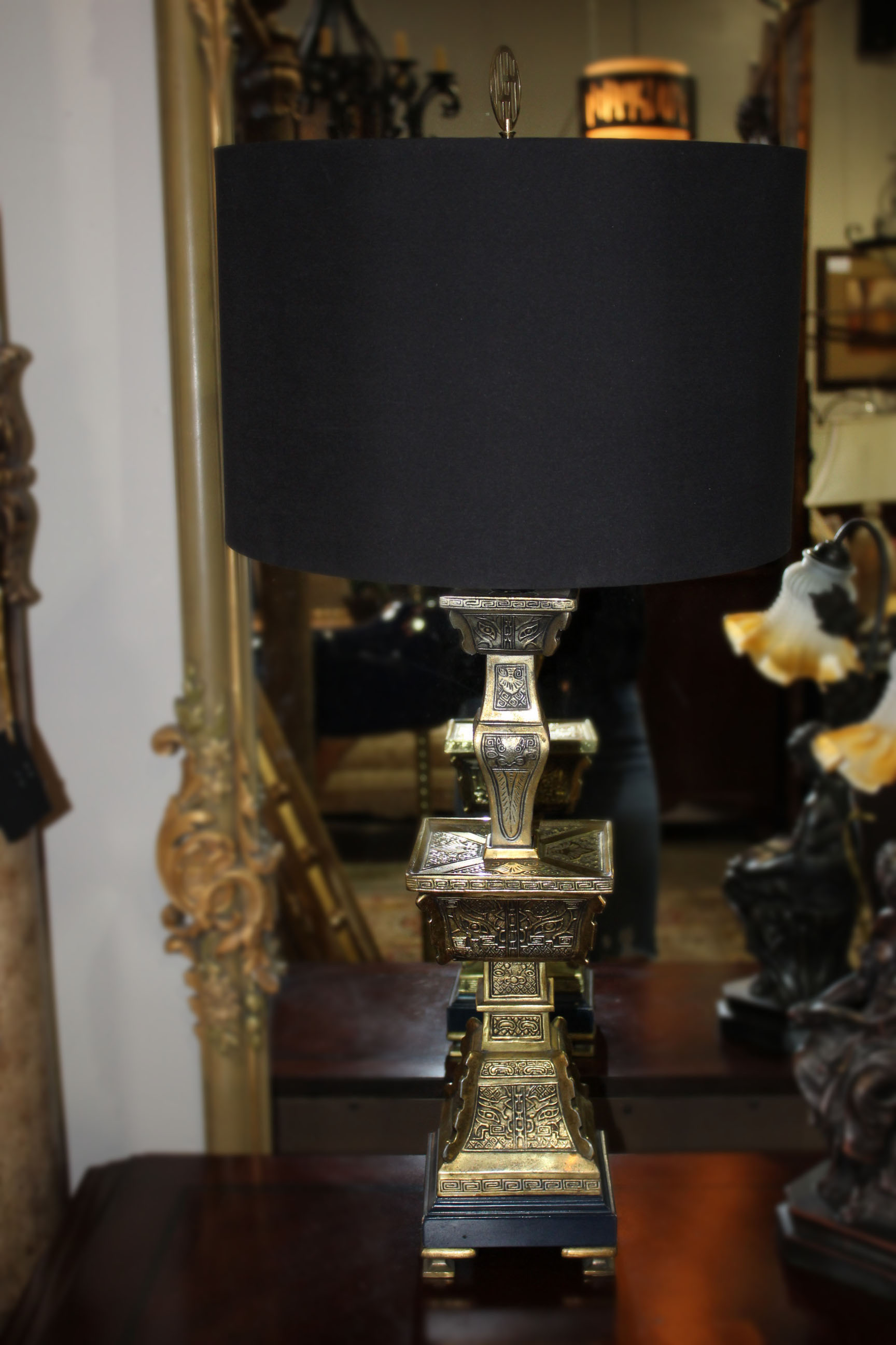 Pair of Brass Pagoda Lamps