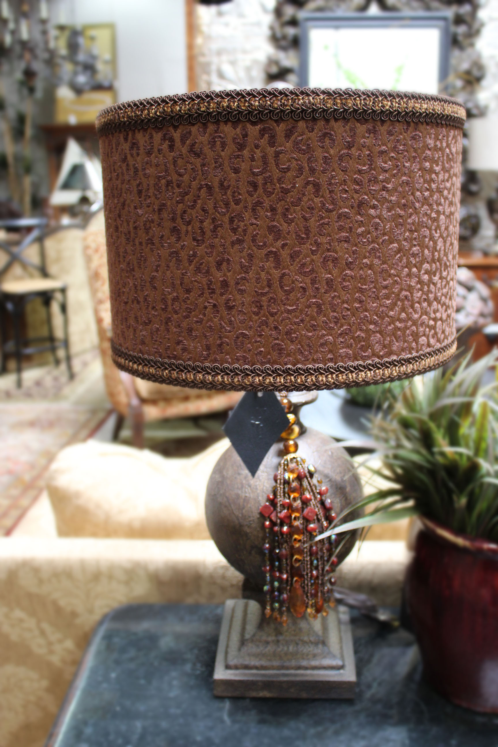Brown Ball Lamp with Velvet Shade