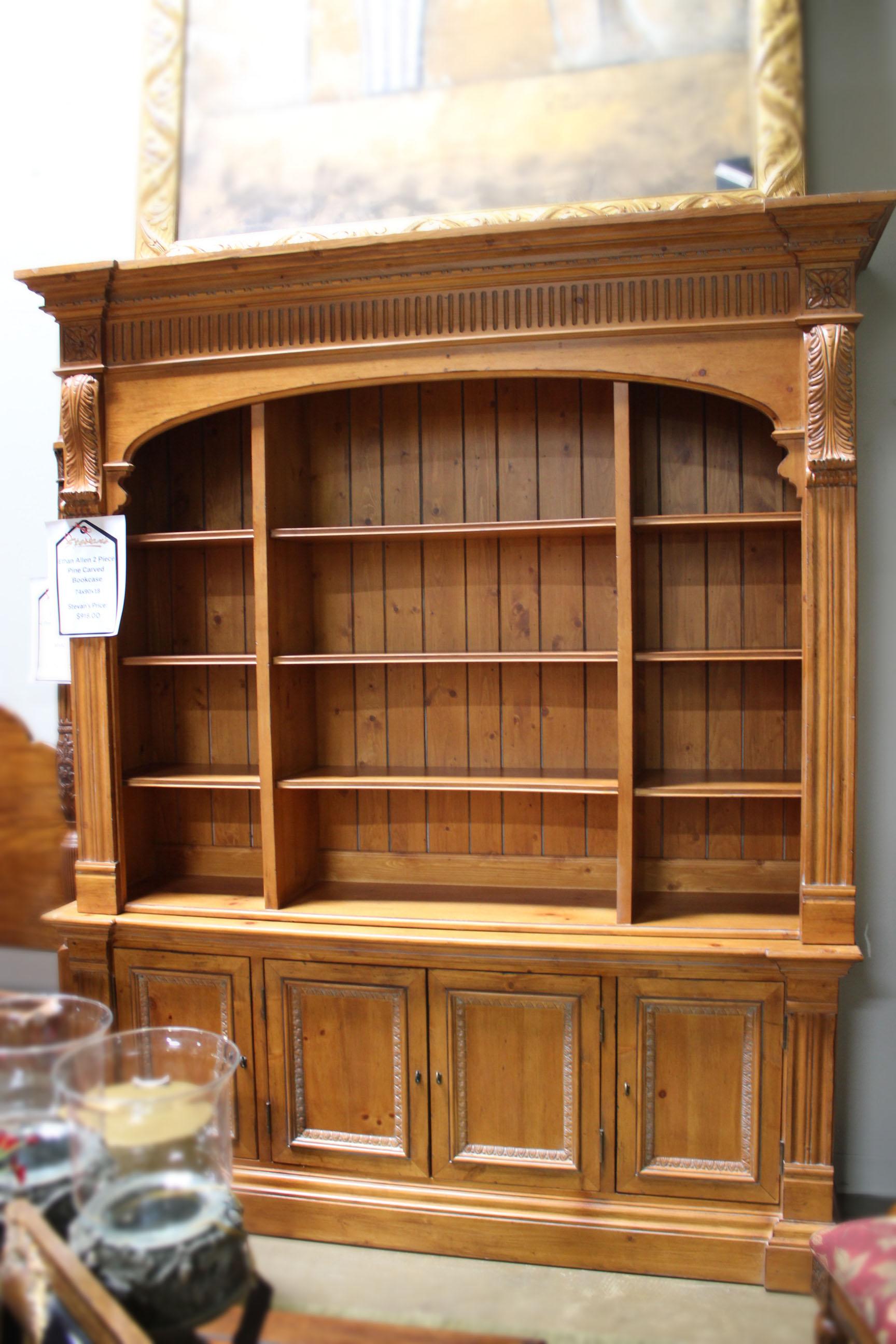 Ethan Allen 2 Piece Pine Carved Bookcase