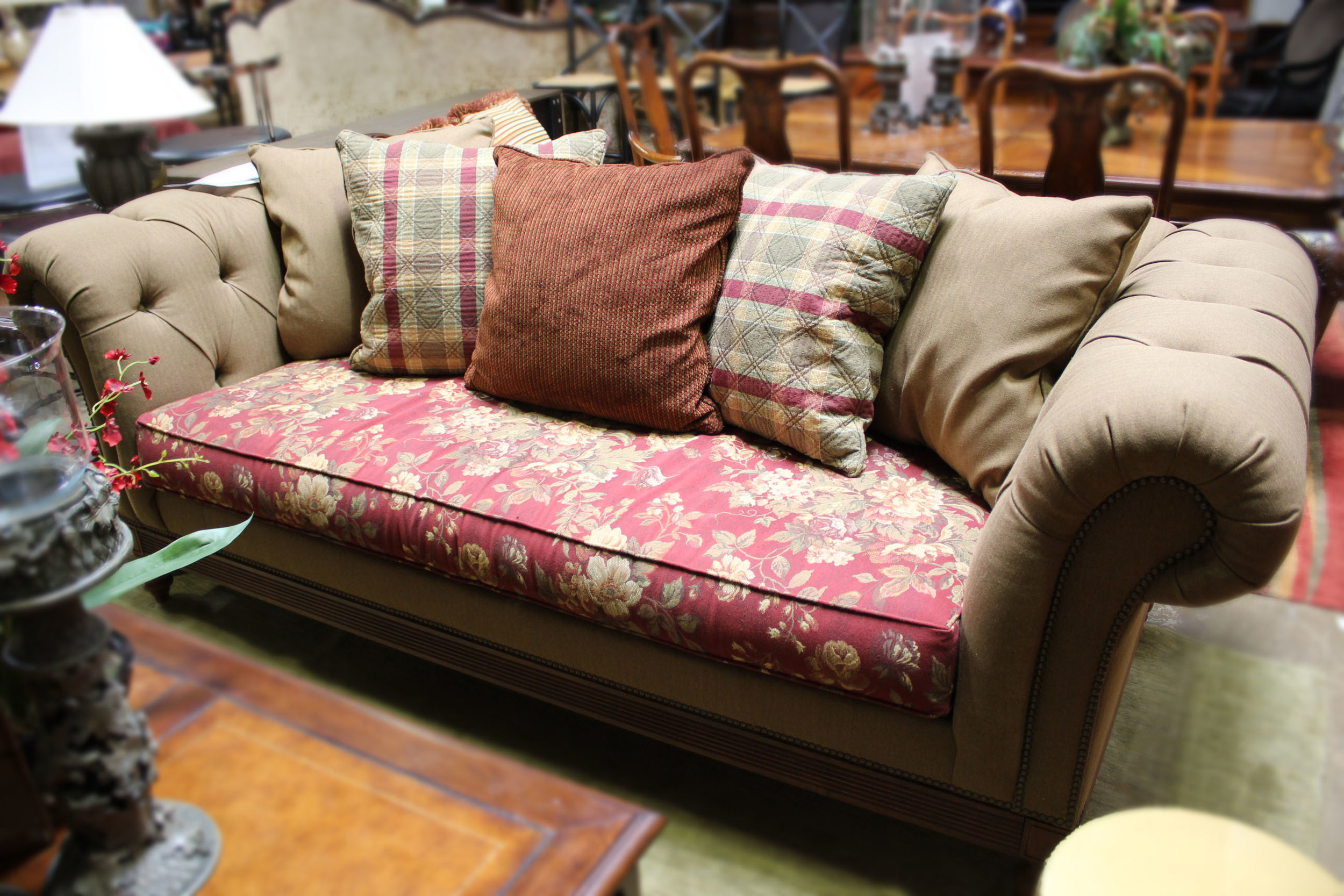 Ethan Allen Brown Chesterfield Sofa with Floral Cushion