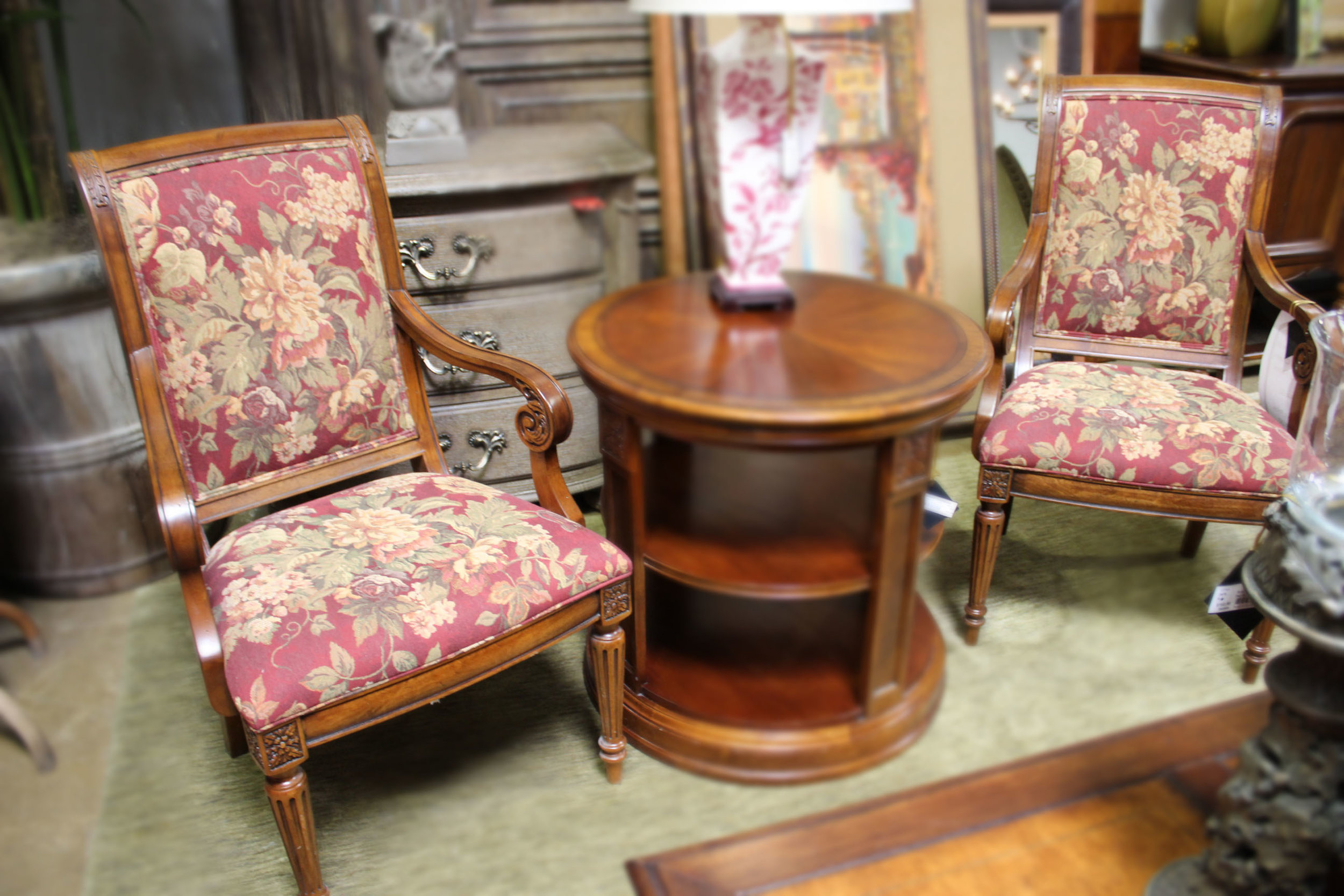 Ethan Allen Pair of Cherry Arm Chairs with Floral Fabric