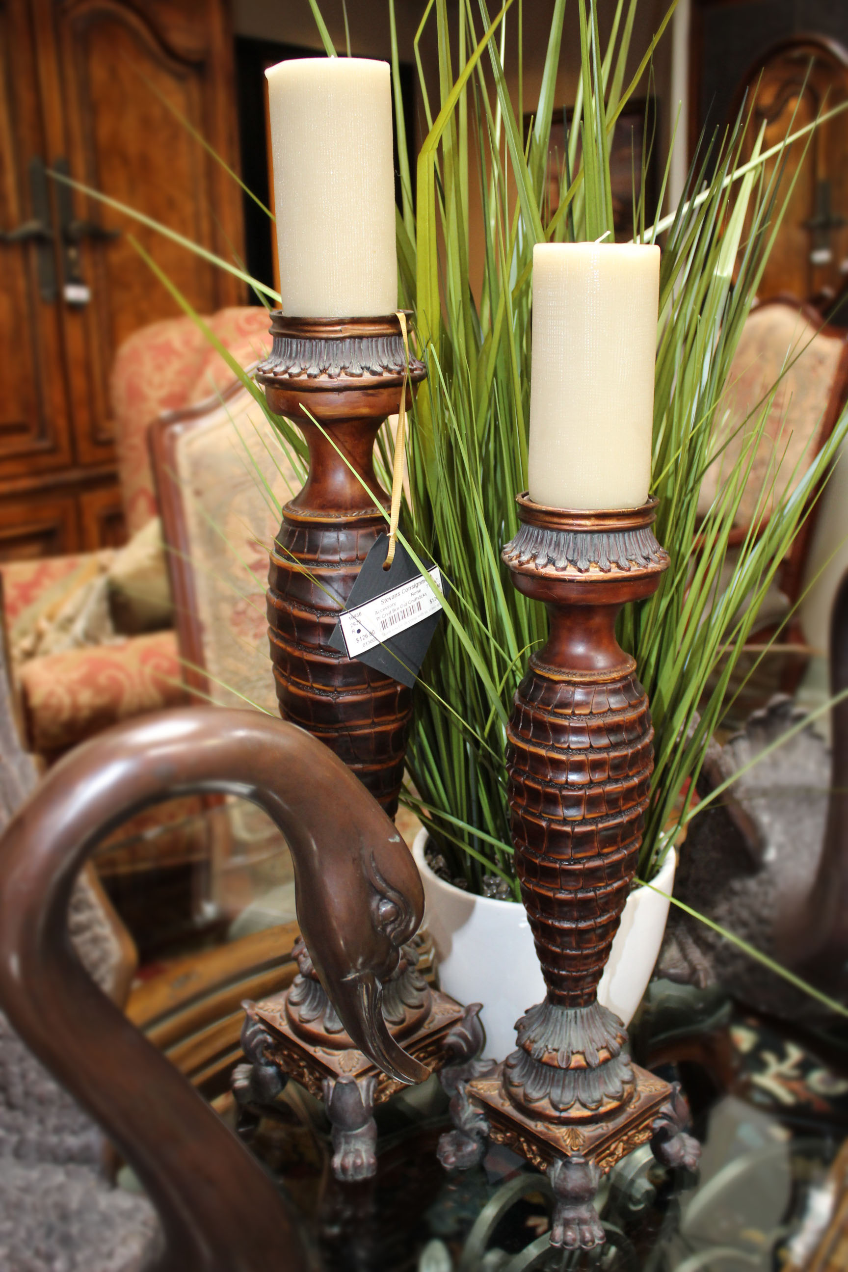 Pair of Carved Brown & Gold Candlesticks