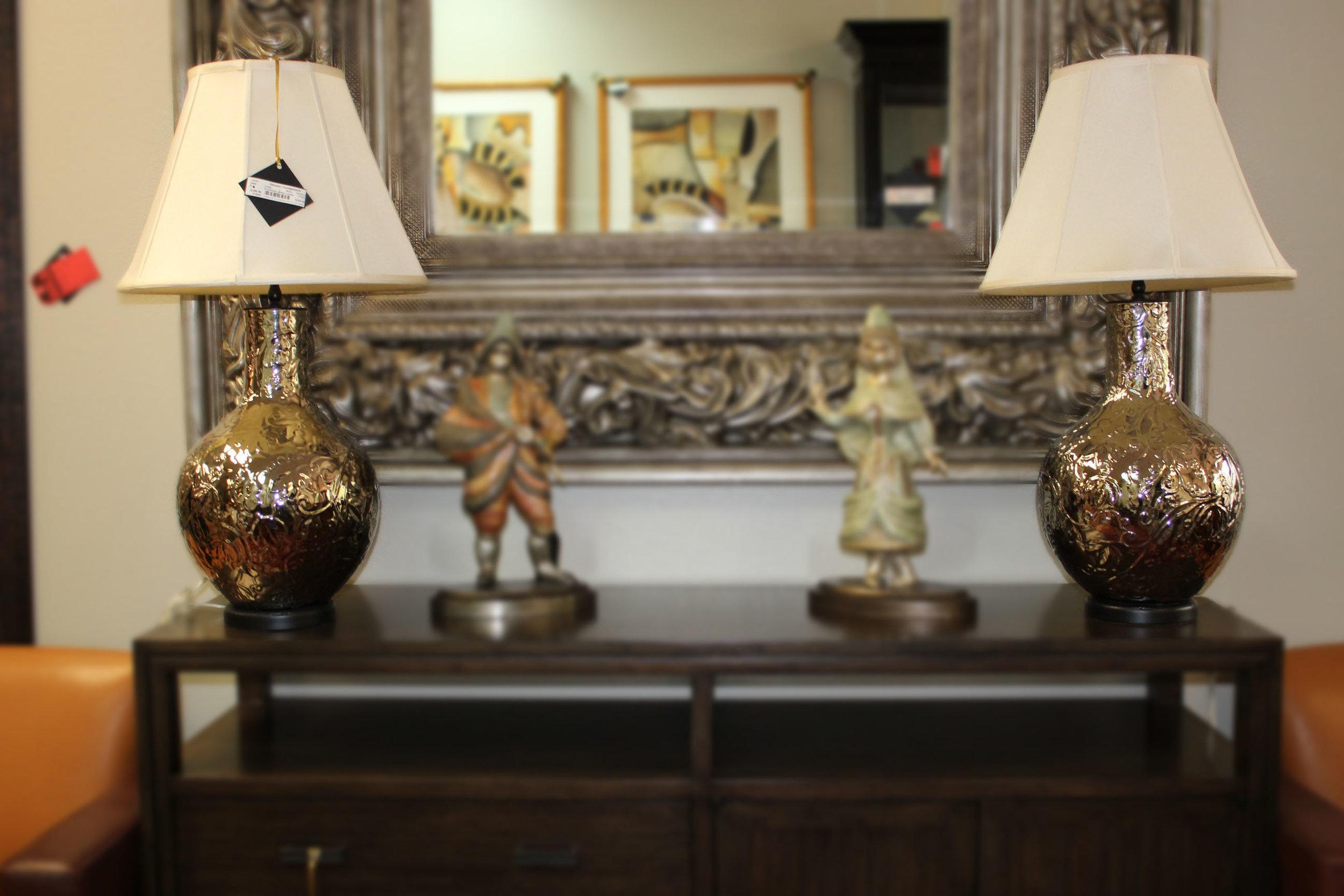 Pair of Metal Silver Lamps