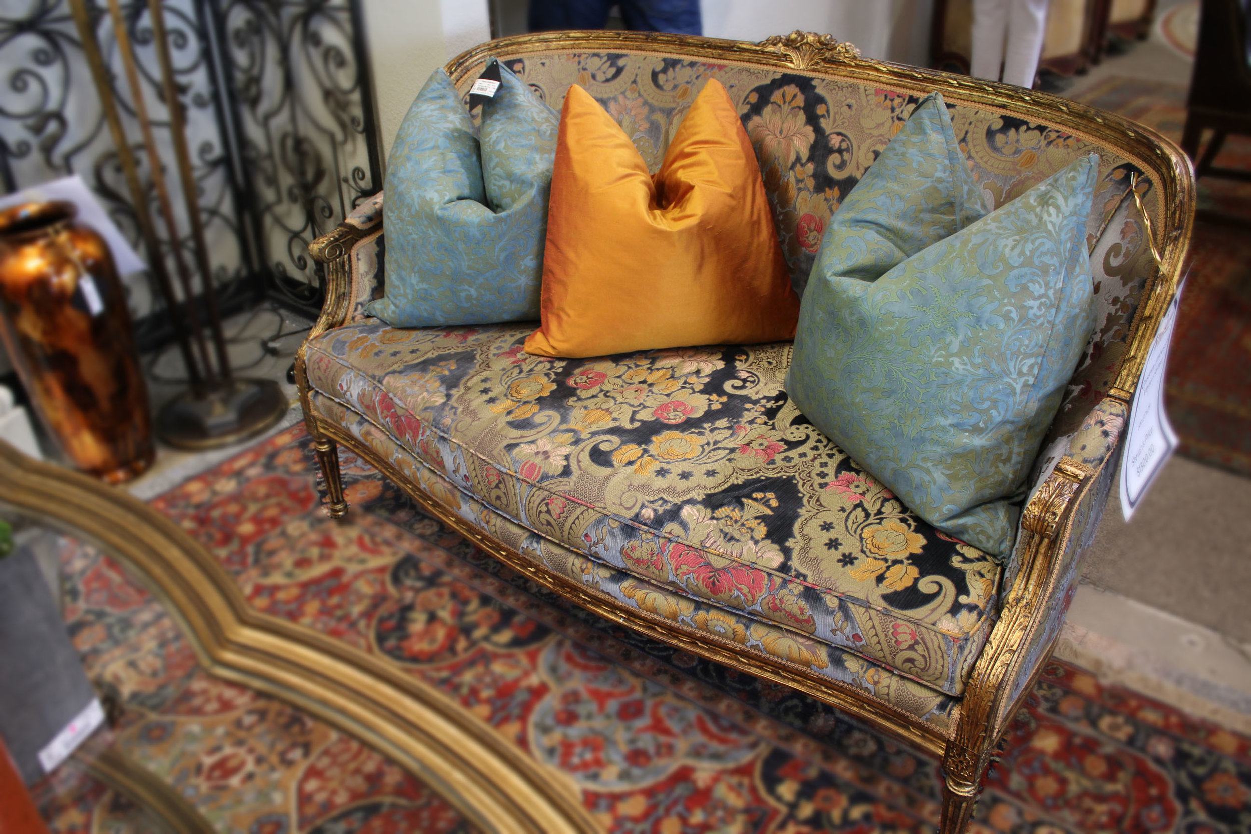 Custom Embossed Velvet Settee