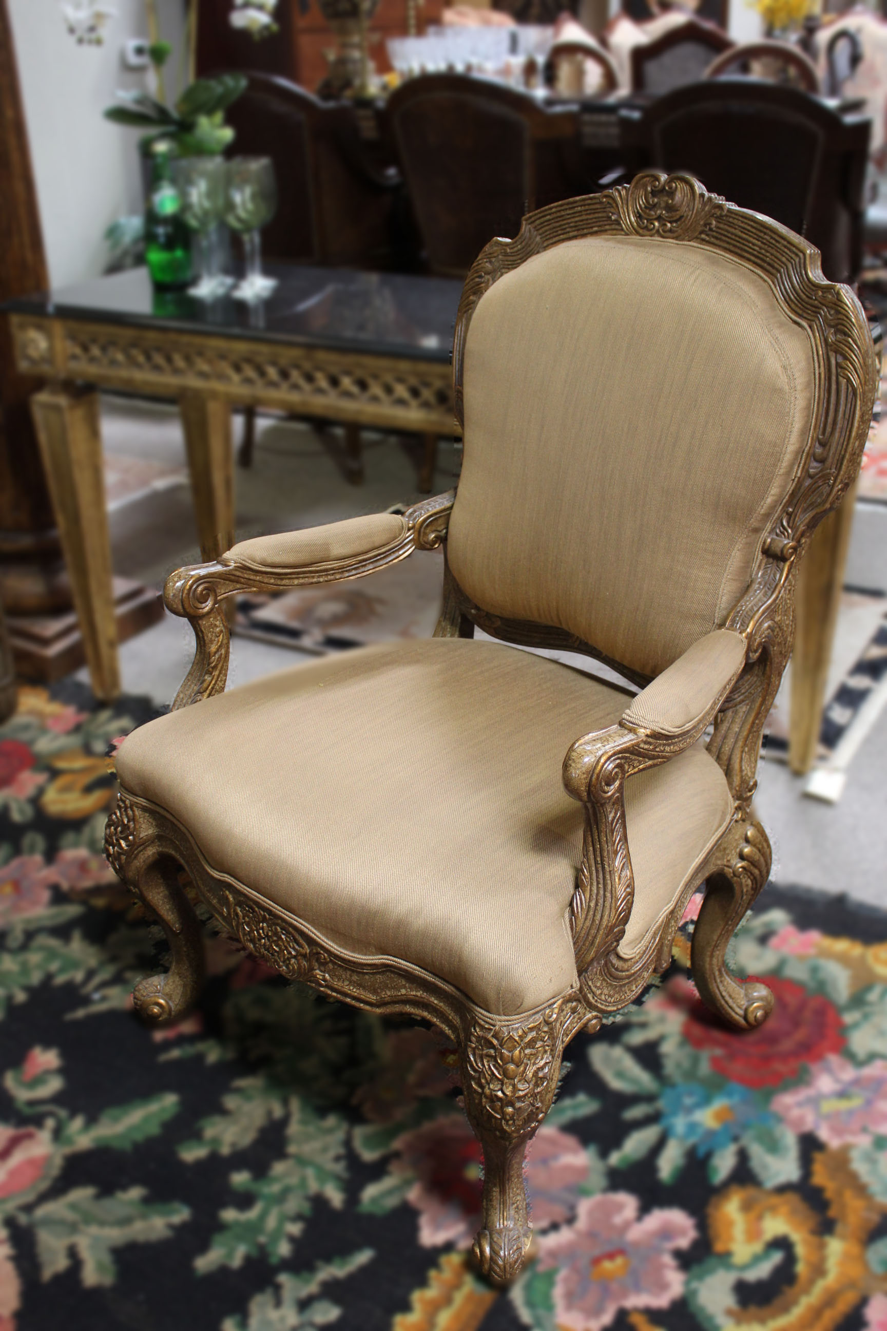 Ferguson Copeland Gold Carved Arm Chair