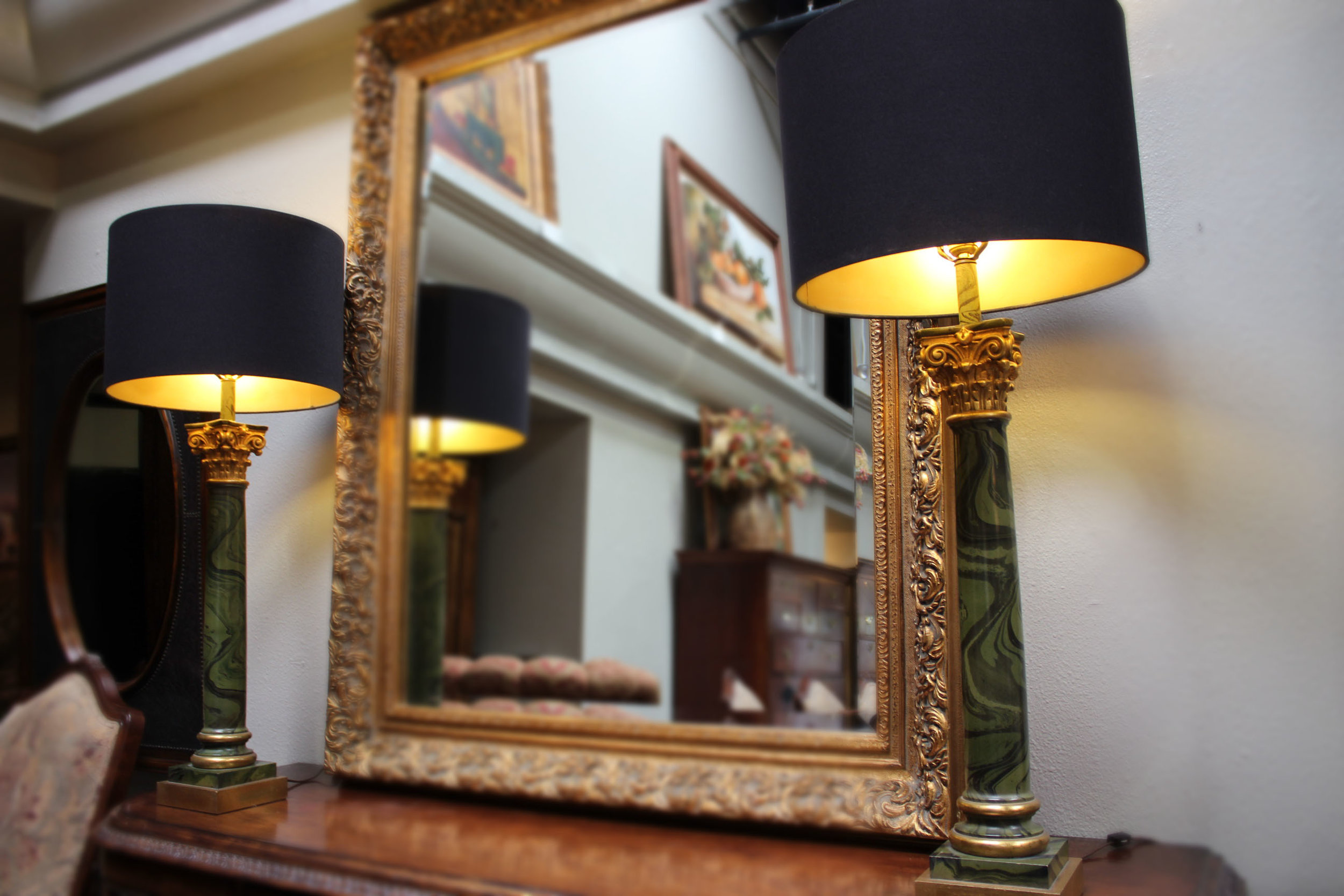 Pair of Green Lamps with Black Shade