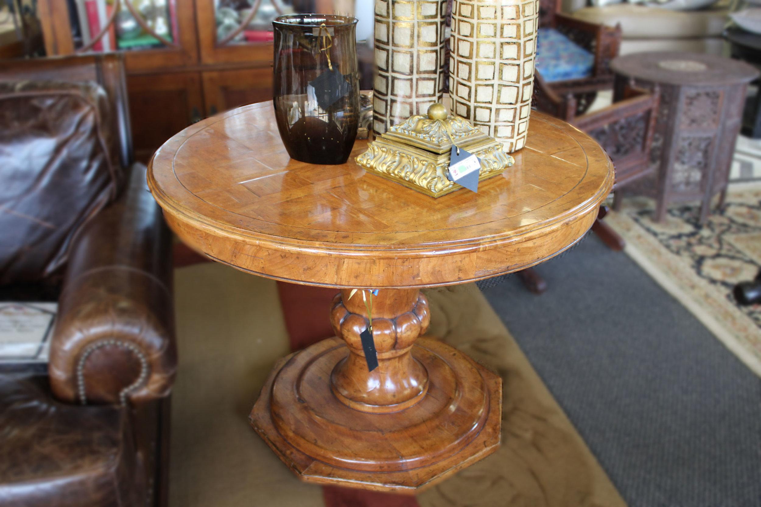 Parquet Top Pecan Pedestal Table