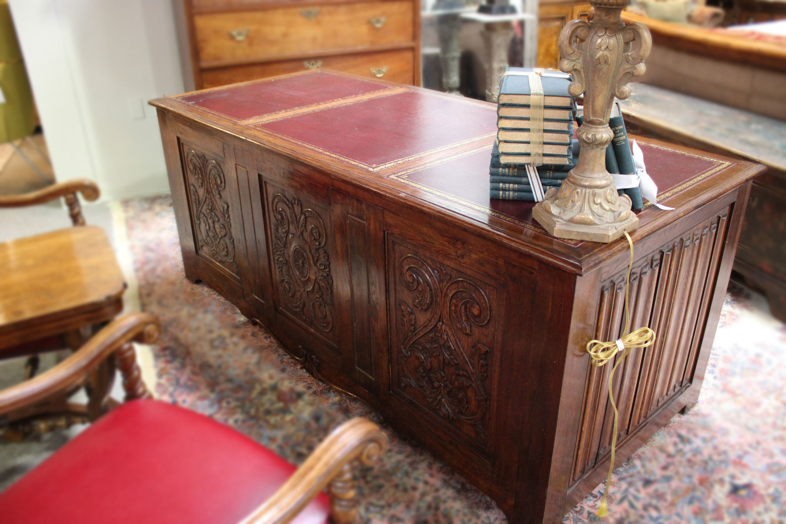 Wood Desk with Red Leather Inlay